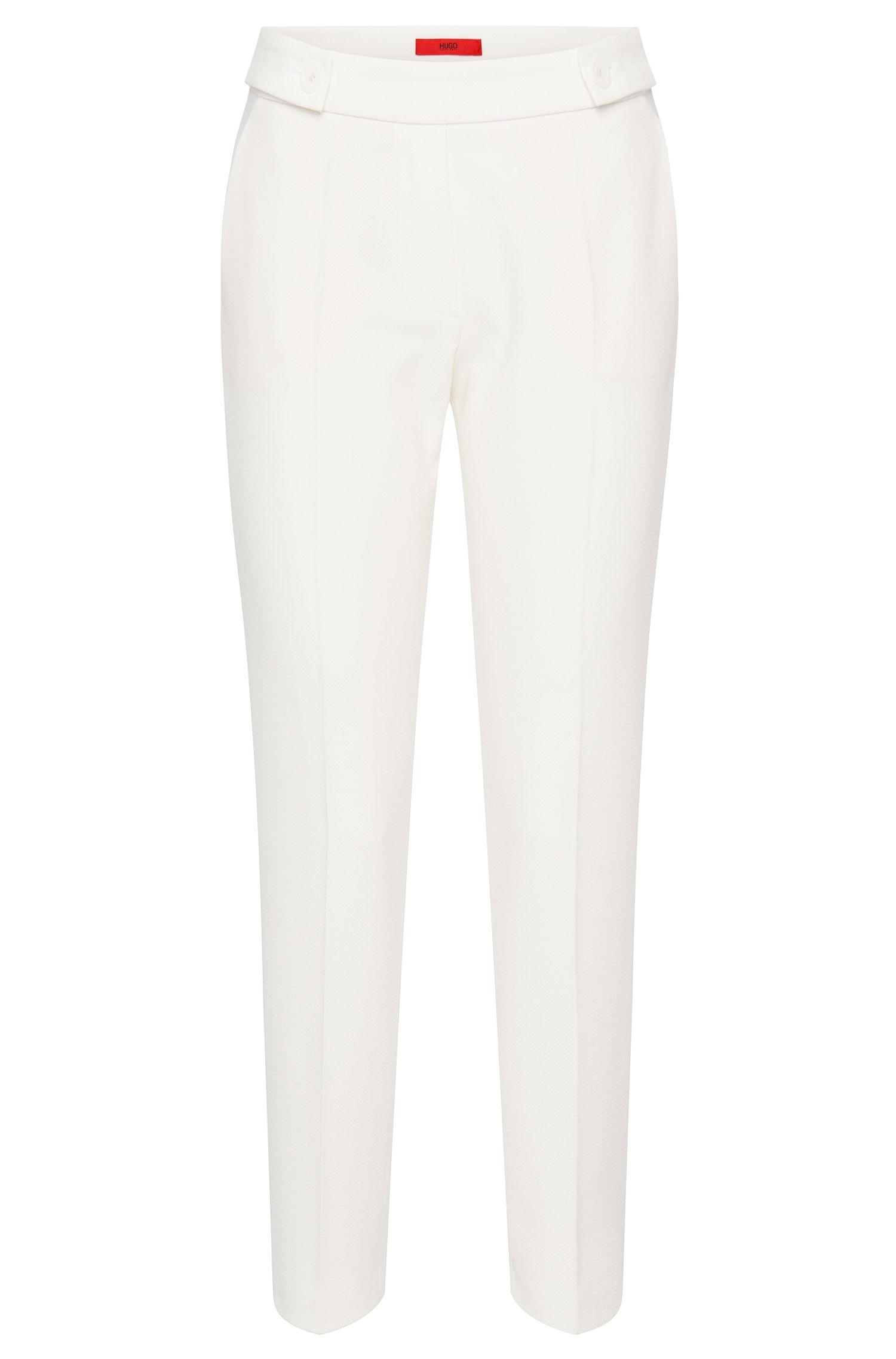 Pantalon à plis marqués uni en tissu structuré: «Himonis-1»