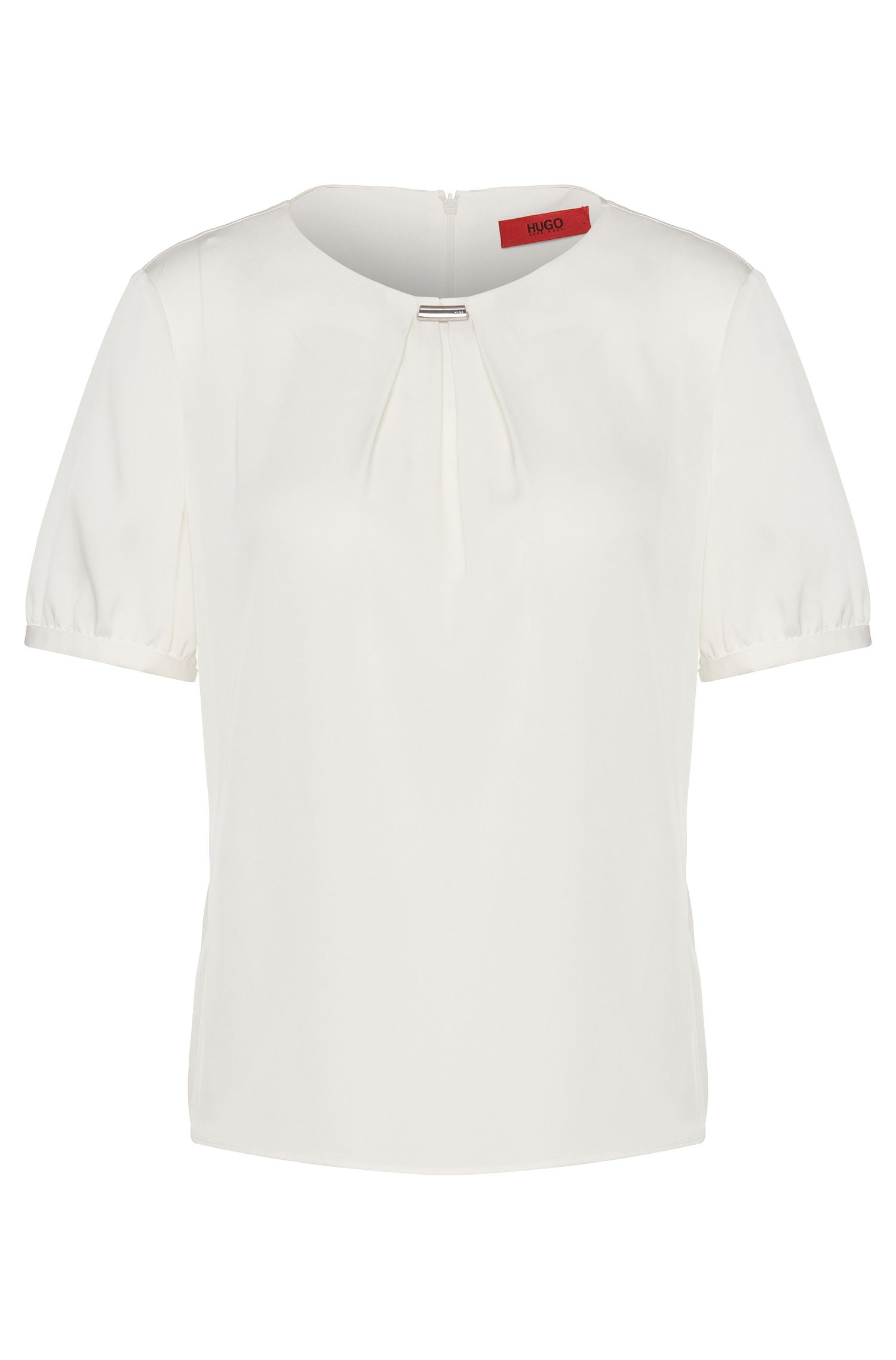 Short-sleeved top in stretch silk: 'Ceyda-1'
