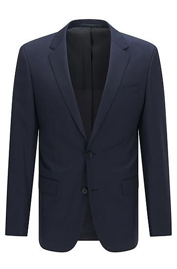 修身版新羊毛珠边缝线外套,  401_暗蓝色