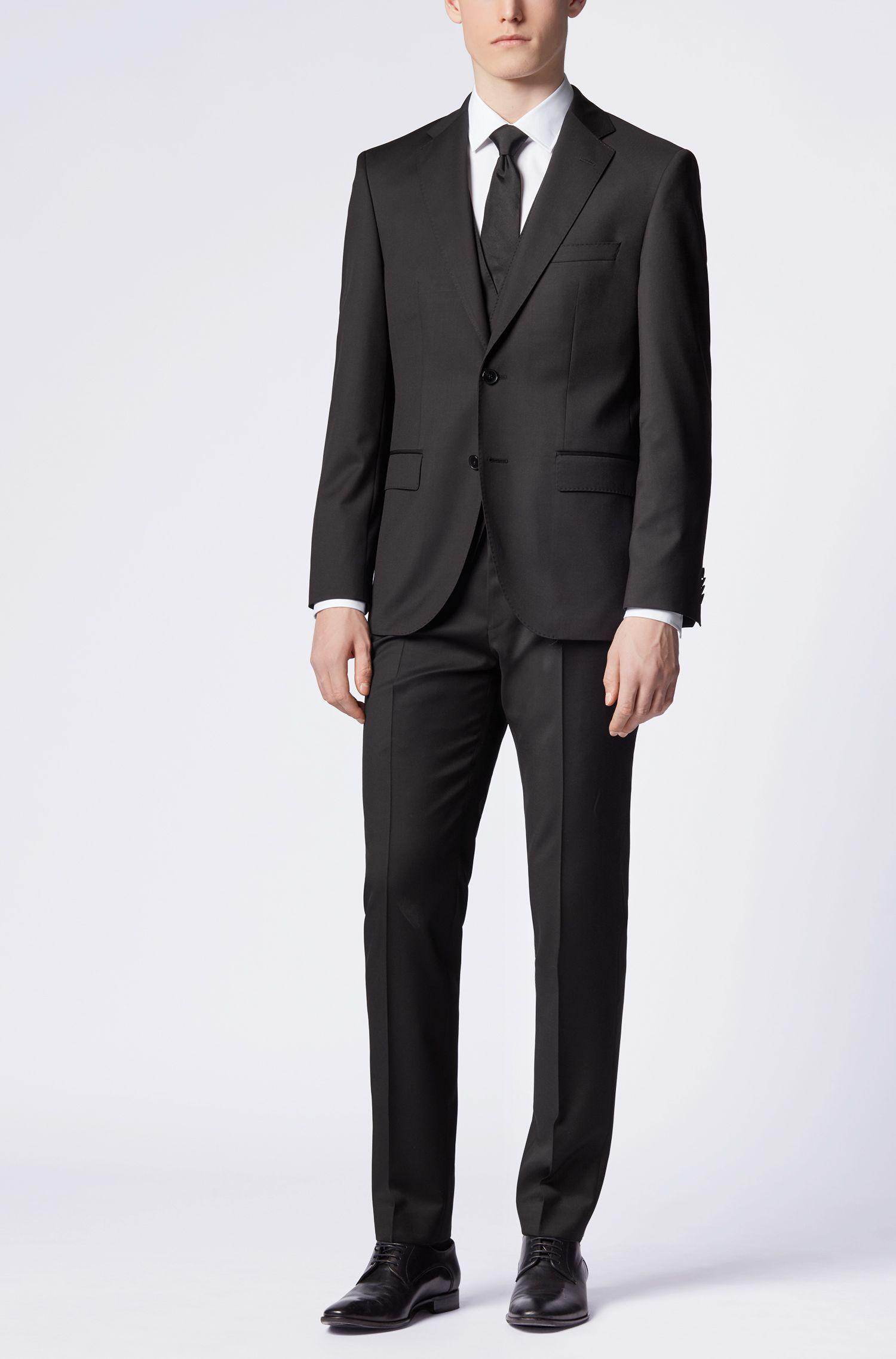 Unifarbene Slim-Fit Hose aus Schurwolle: 'Gibson_cyl'