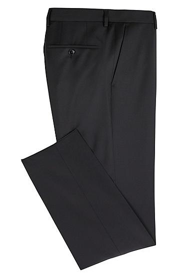 Unifarbene Slim-Fit Hose aus Schurwolle: 'Gibson_cyl', Schwarz