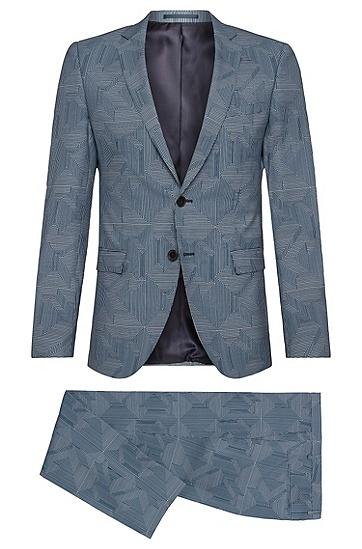 Gemusterter Extra Slim-Fit Anzug aus reiner Schurwolle: 'Rocco/Wyatt', Blau