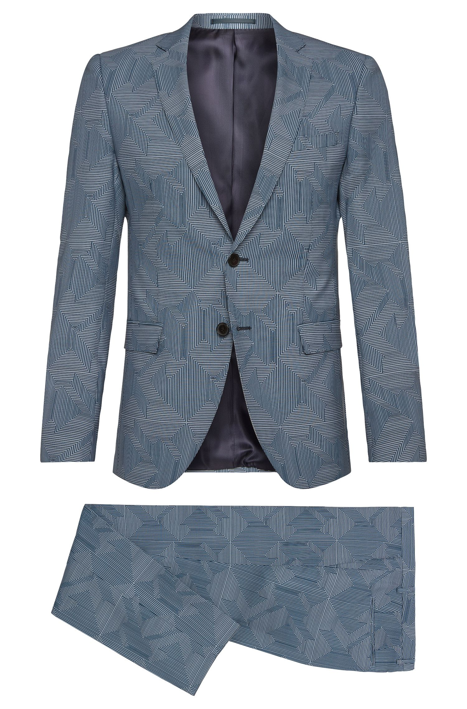 Patterned extra slim-fit suit in pure new wool: 'Rocco/Wyatt'