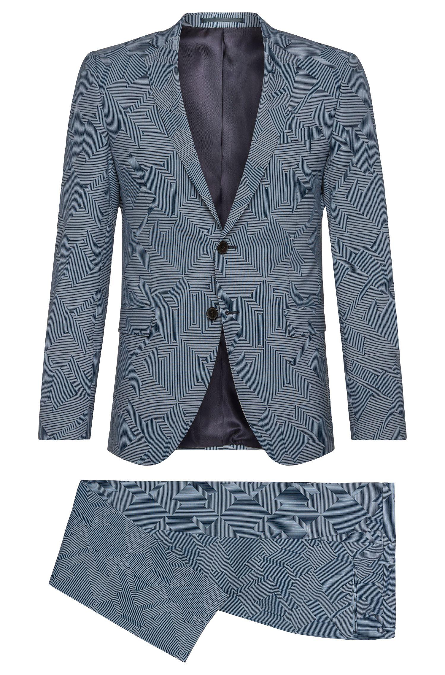 Traje extra slim fit estampado en lana virgen pura: 'Rocco/Wyatt'