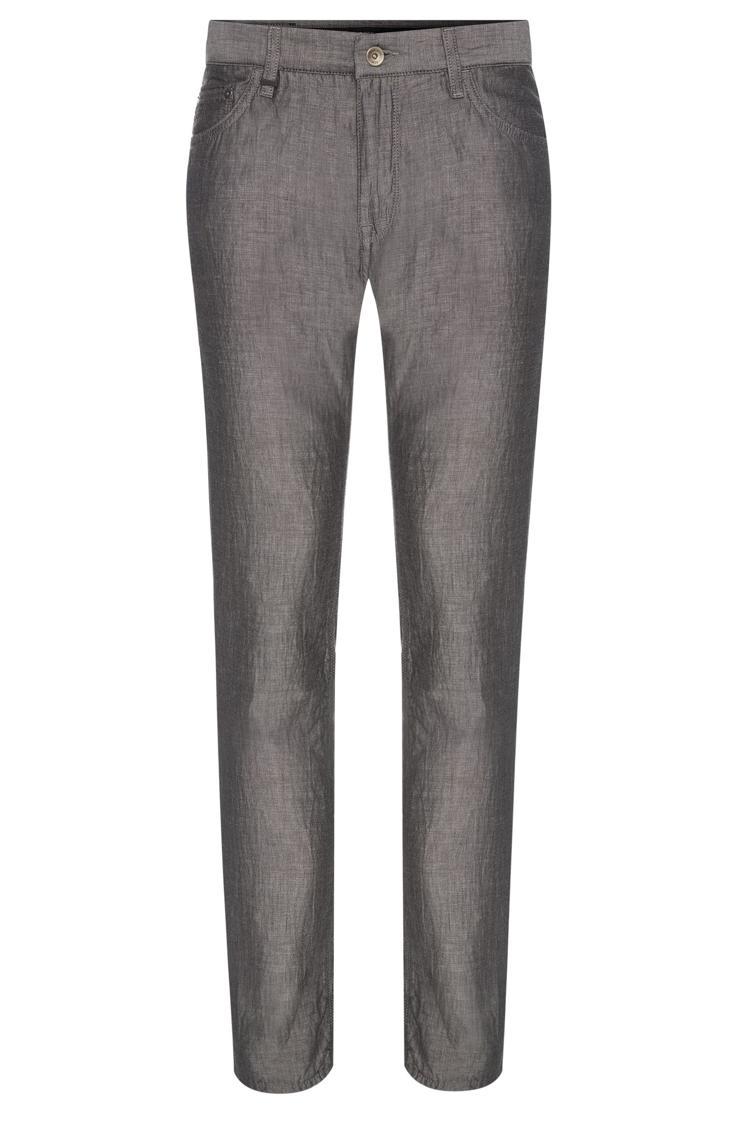 Regular-fit trousers in cotton blend with linen and silk: 'Maine4-10'