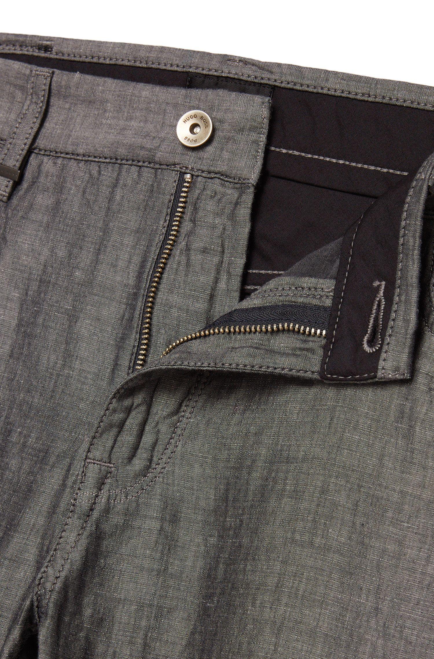 Regular-Fit Hose aus Baumwoll-Mix mit Leinen und Seide: 'Maine4-10'