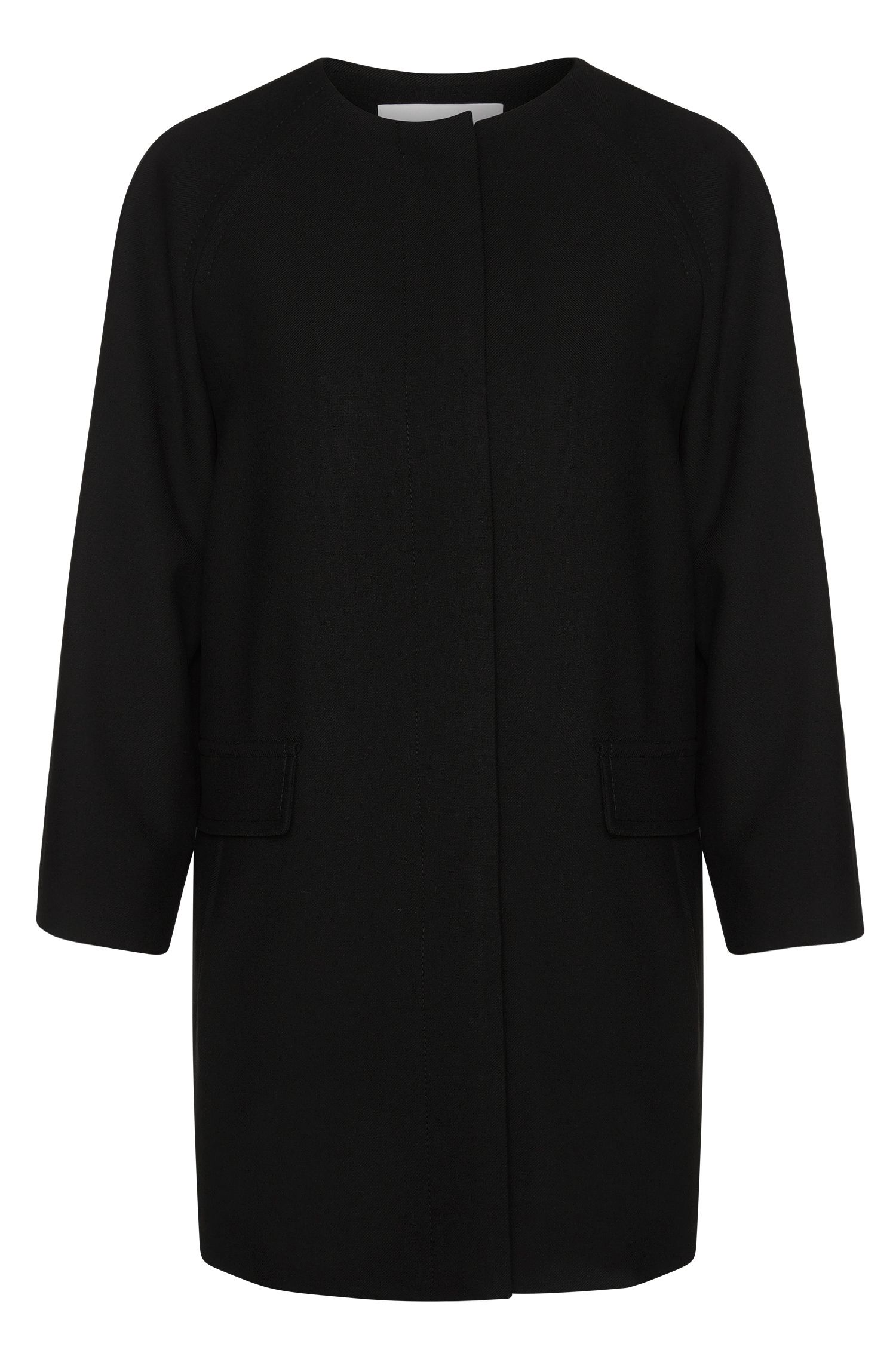 Plain-coloured coat with concealed button placket: 'Calera'