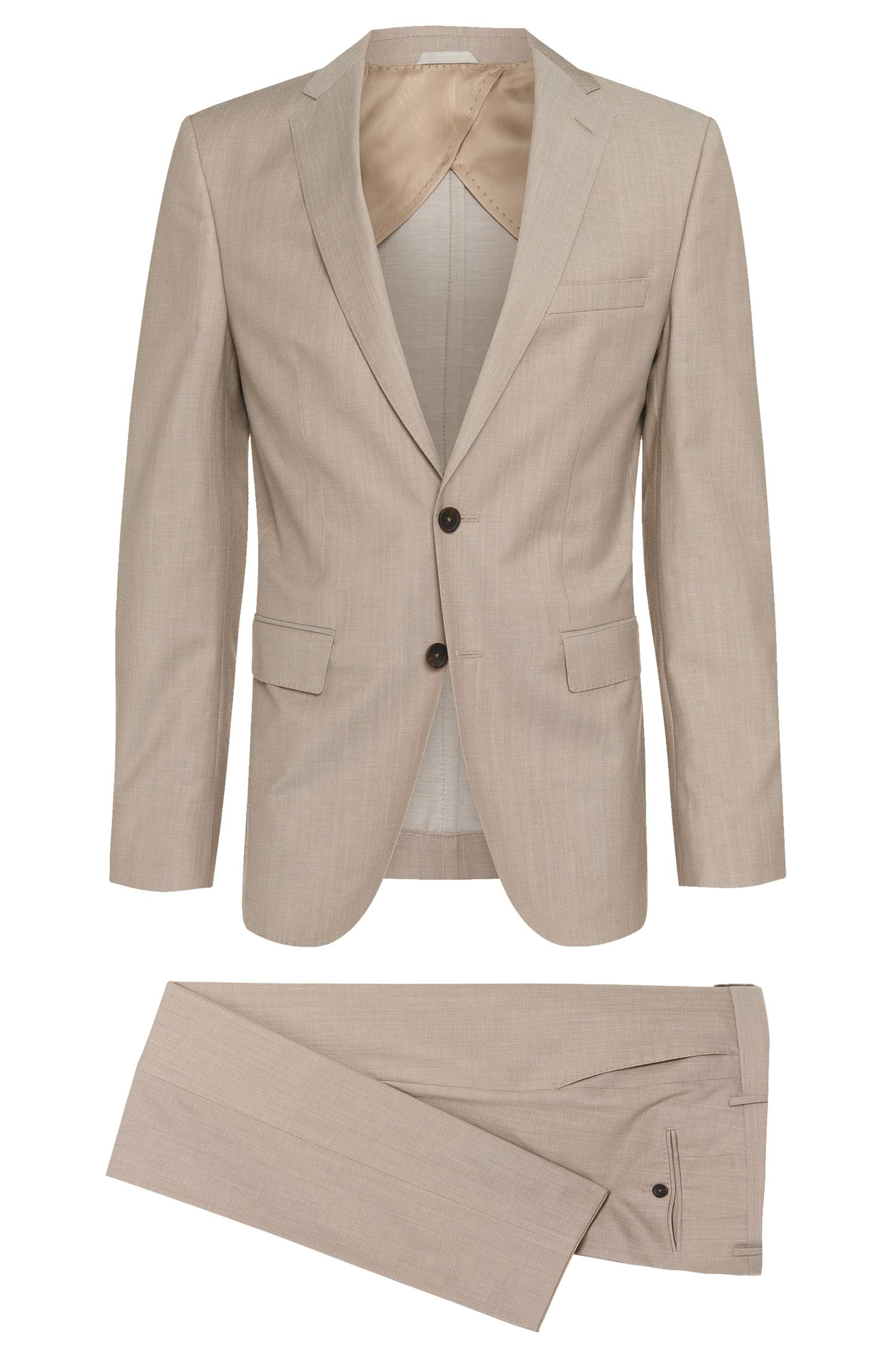 Slim-fit suit in new-wool blend with partial lining: 'Nortan/Benno'