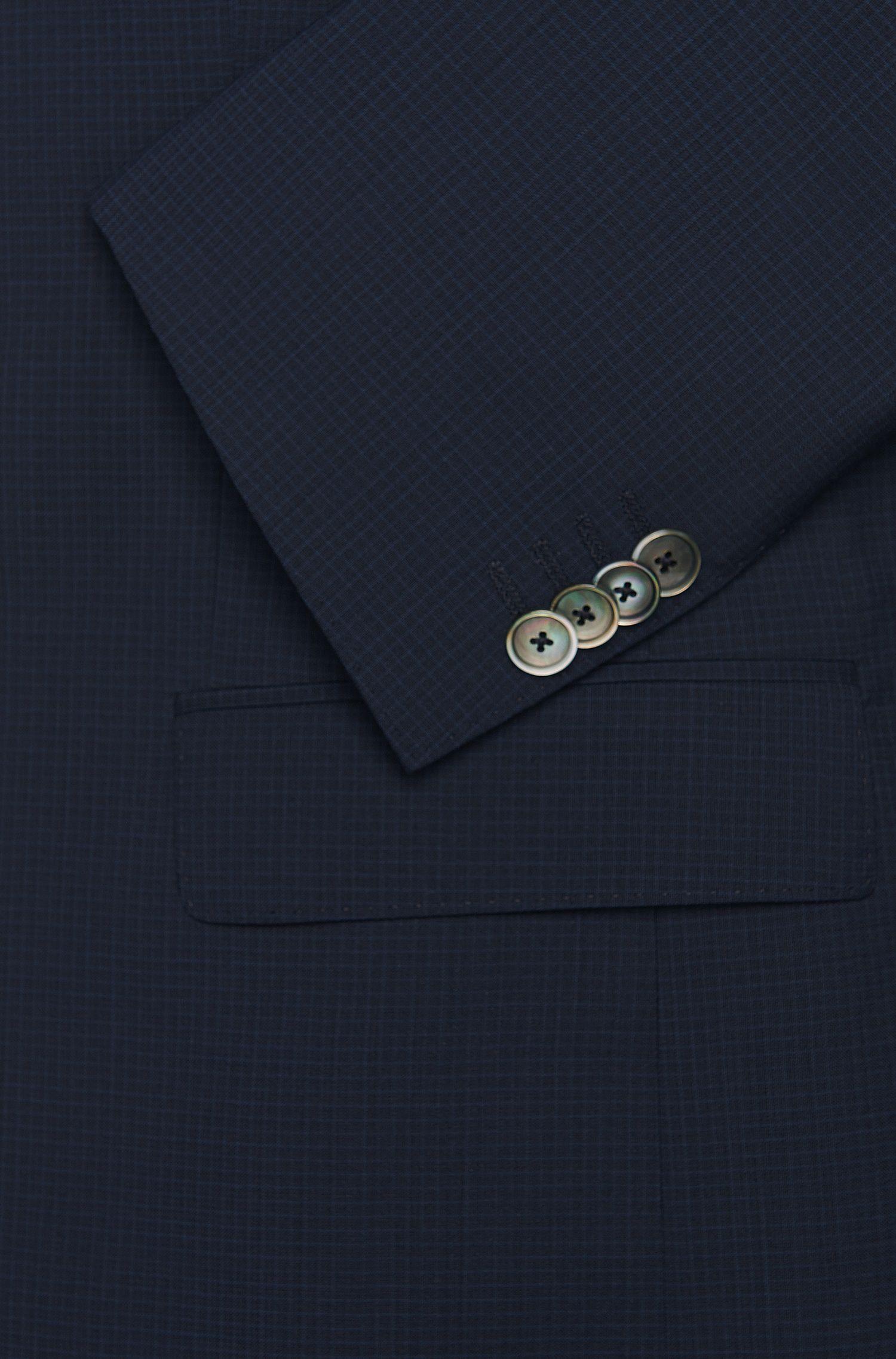 Costume Slim Fit à carreaux raffinés en laine vierge, avec boutons en nacre: «Hutson3/Gander1»