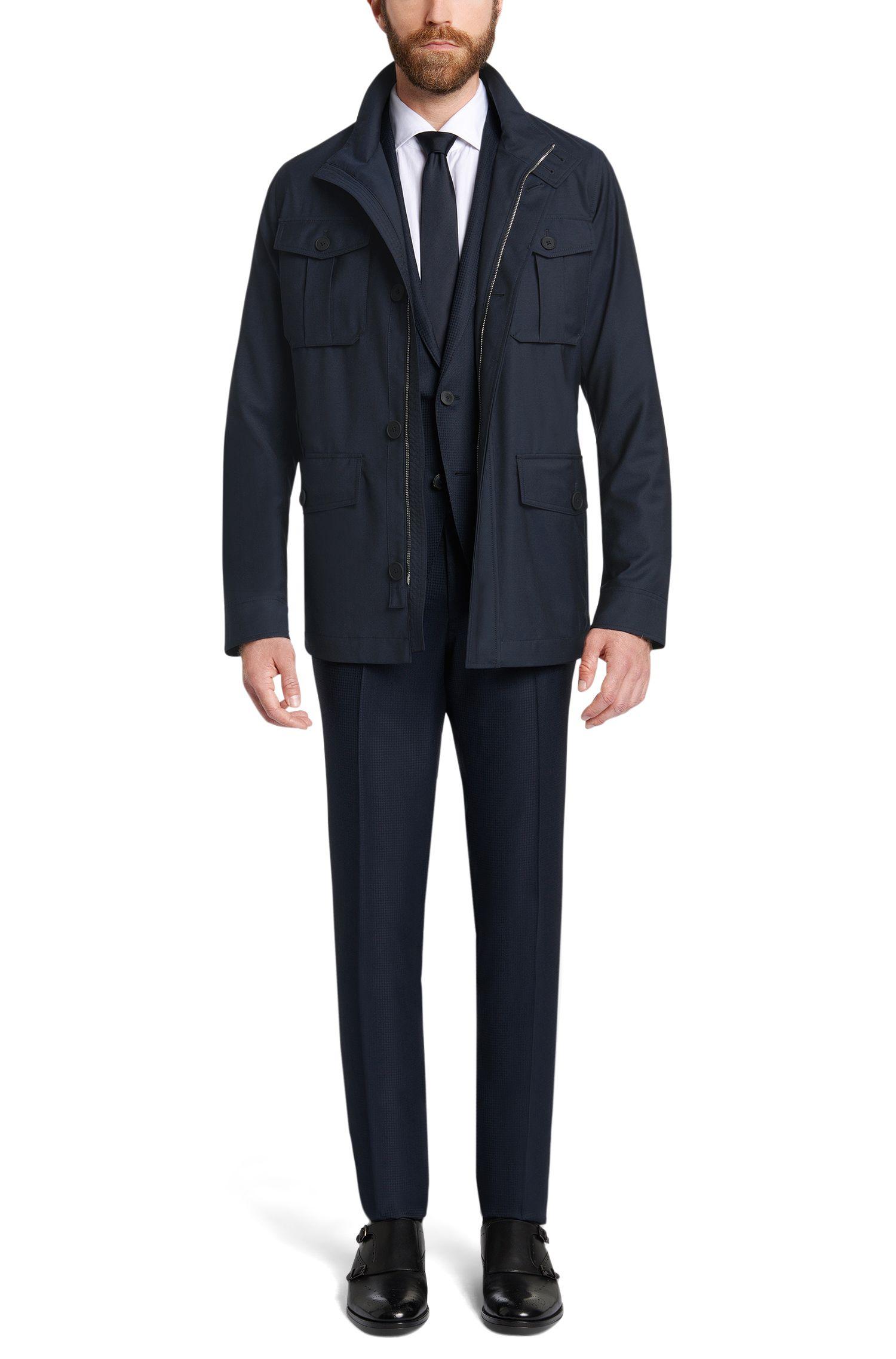 Blouson Tailored en laine vierge avec poches plaquées: «T-Coper3»