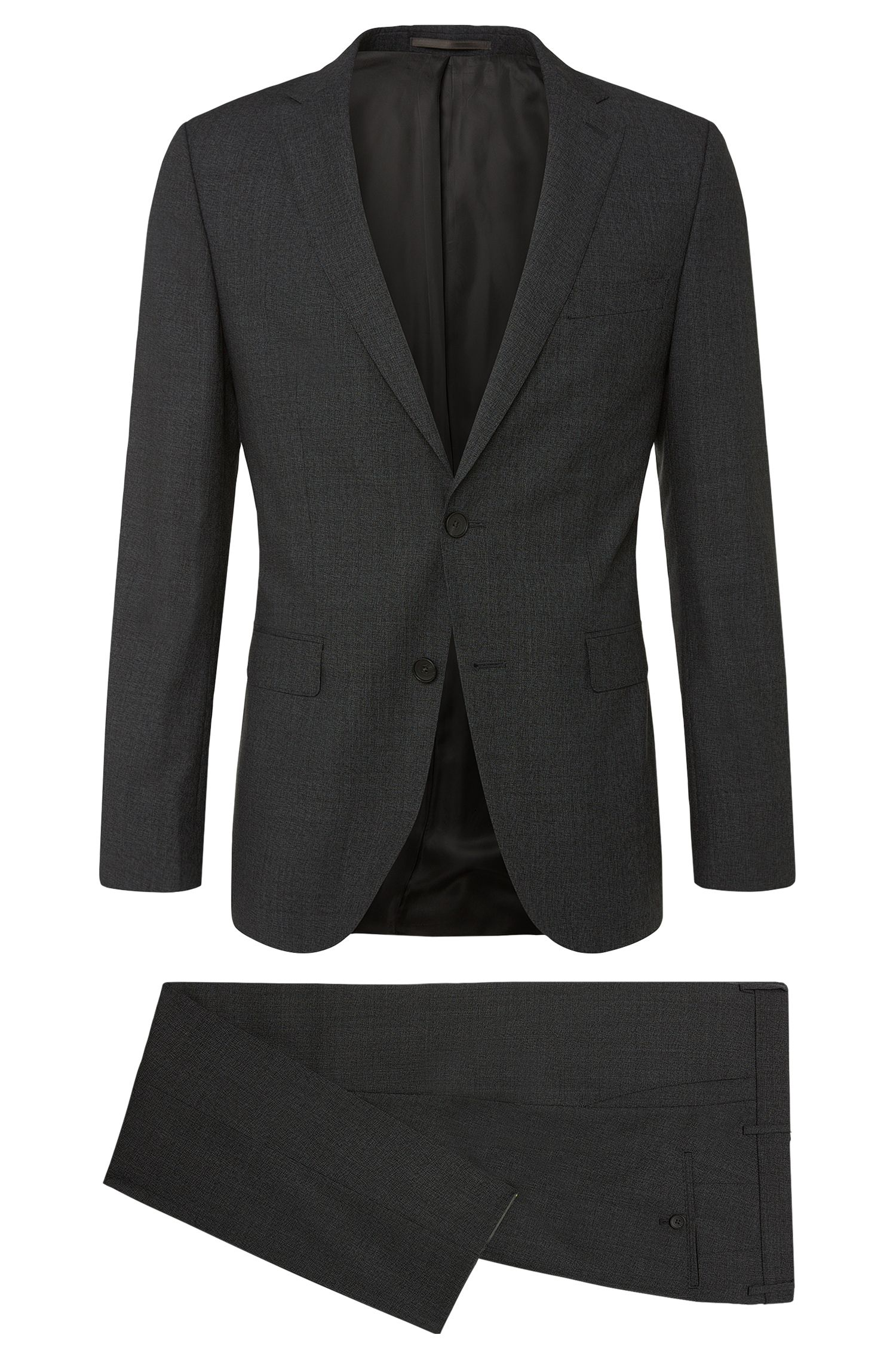 Slim-fit suit in new-wool blend with fine hatching: 'Nova3/Ben'