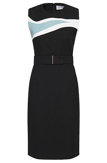 Sheath dress in stretch new wool with contrasting insert: 'Didina', Black