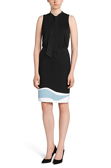 Skirt in stretch cotton with a pattern of streamlined shapes: 'Vidina', Black
