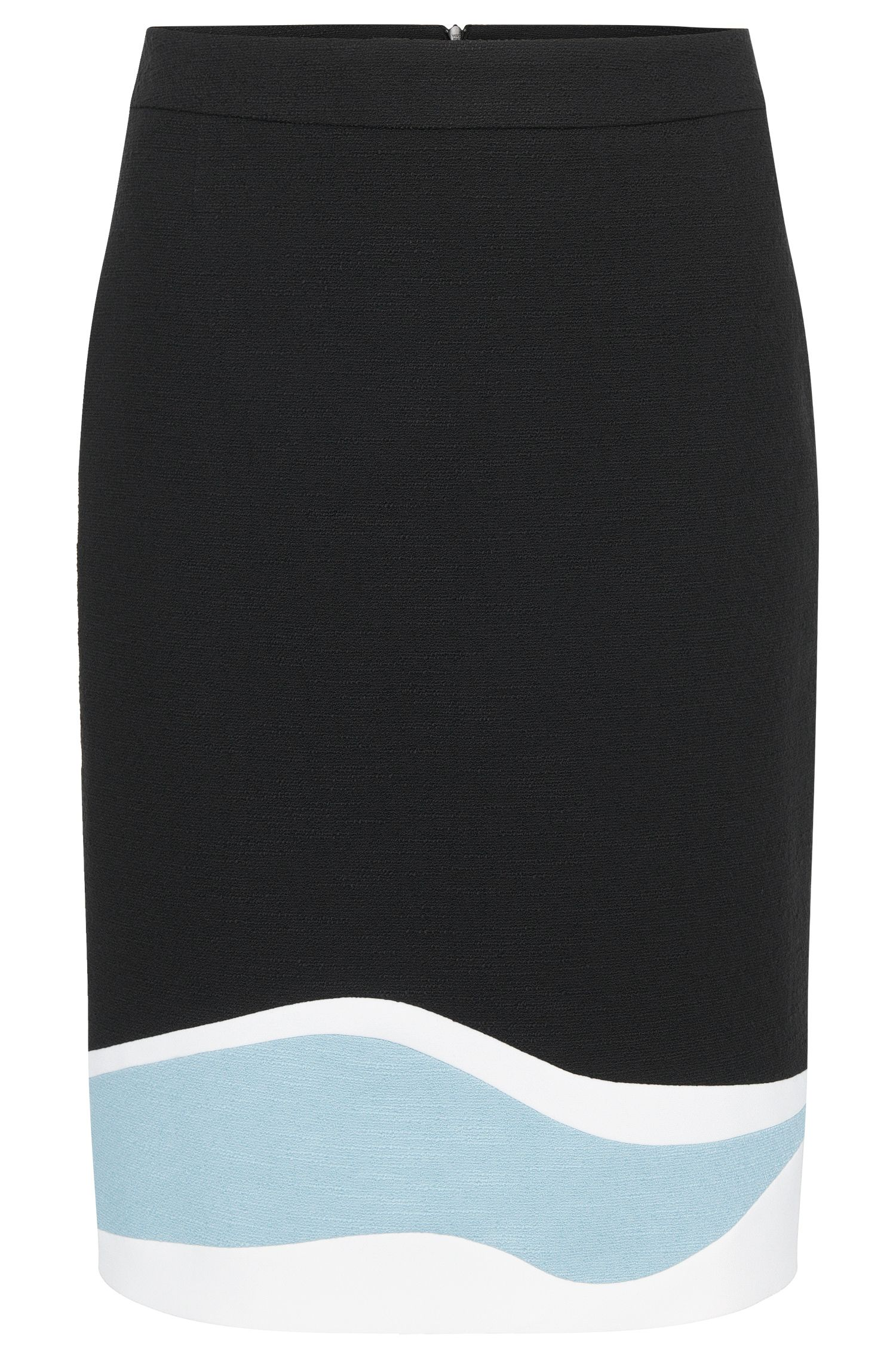 Skirt in stretch cotton with a pattern of streamlined shapes: 'Vidina'