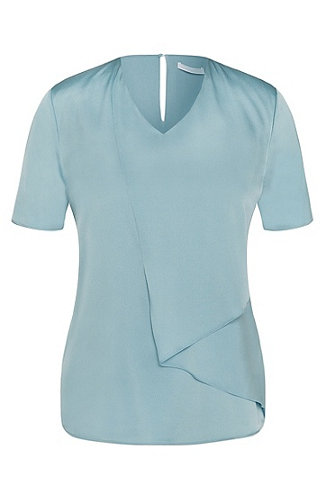 Short-sleeved top in stretch silk with asymmetric front: 'Iminta', Turquoise