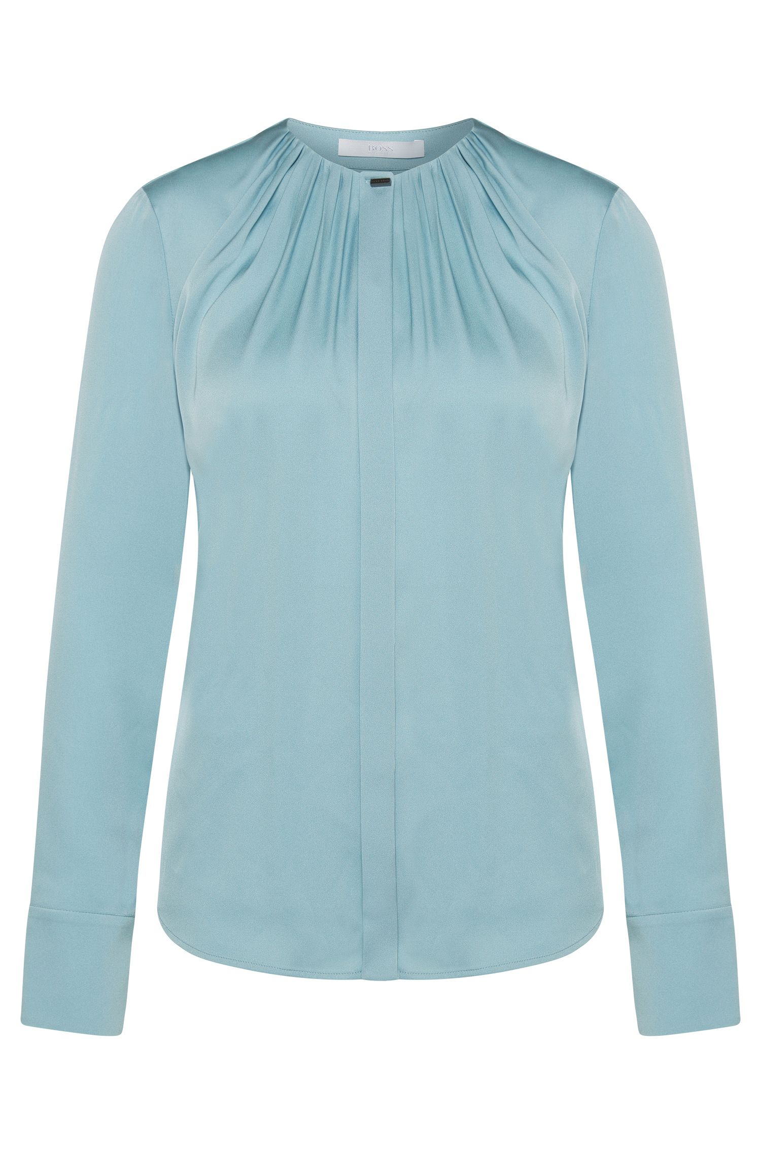Blouse in stretch silk with decorative pleats at the neckline: 'Banora5'