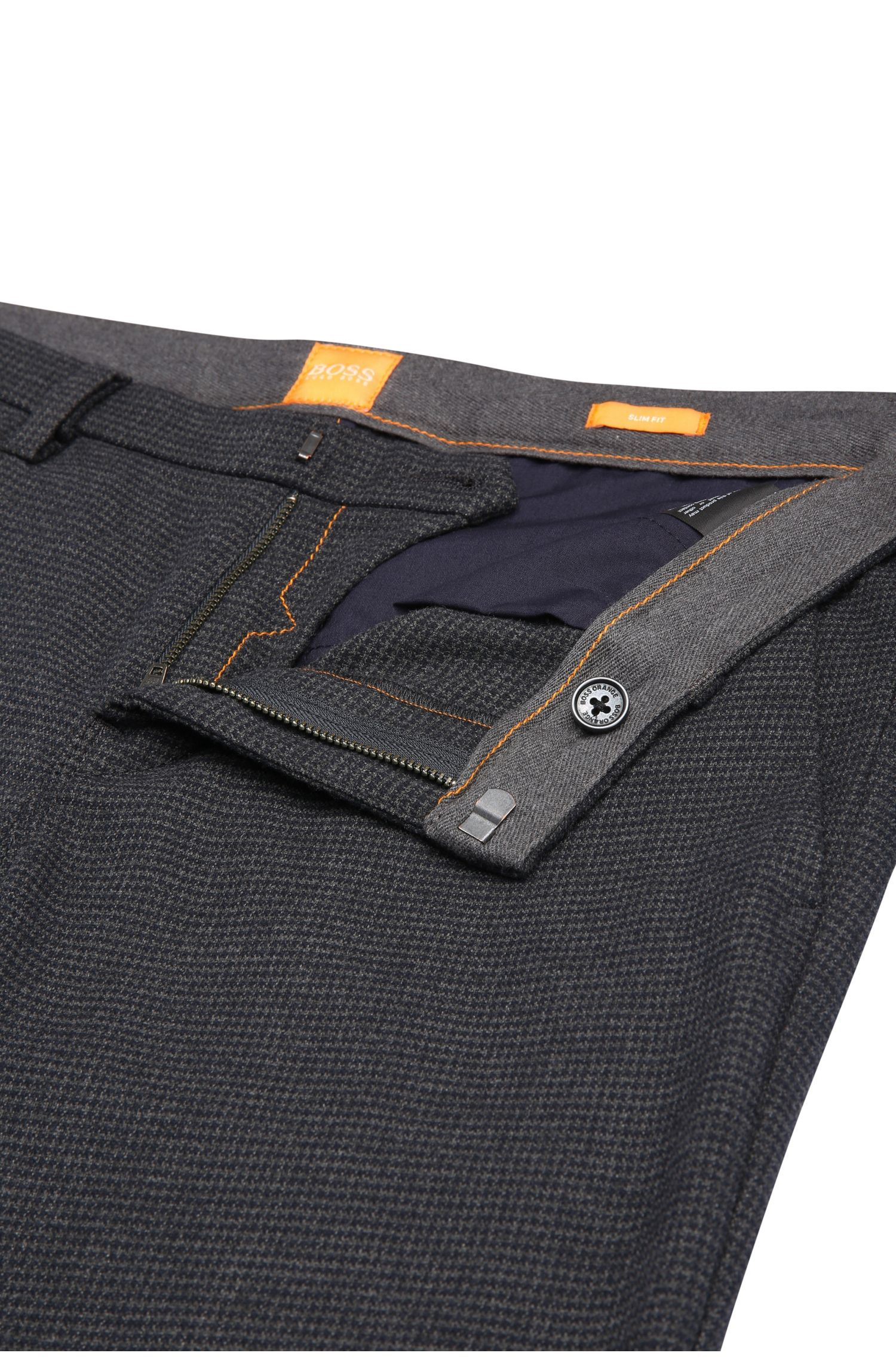 Slim-Fit Chino aus elastischem Material-Mix in Hahnentritt-Optik: ´Slim3-W`