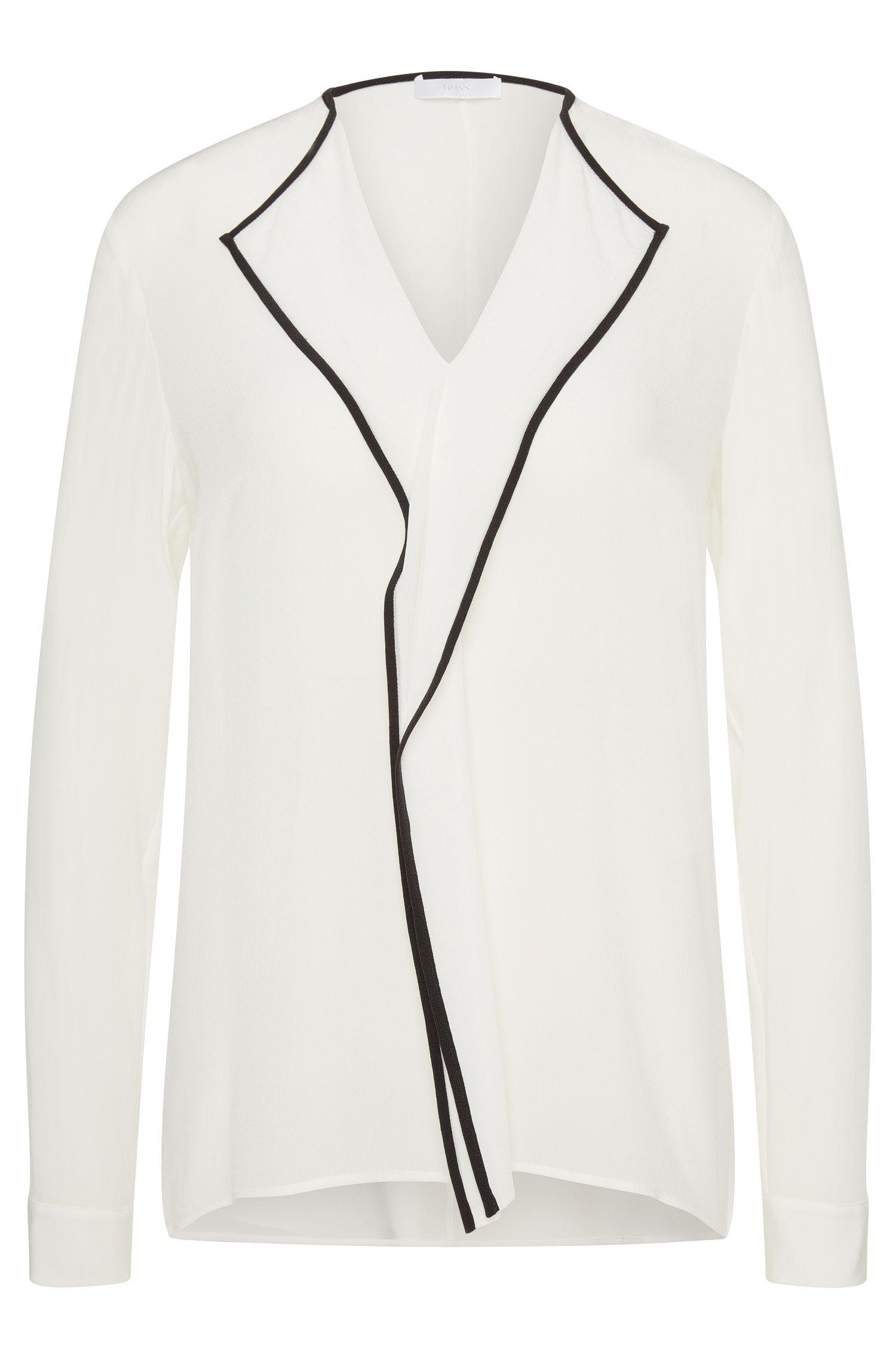 Bluse aus reiner Seide mit Kontrast-Blende: 'Ravenia'