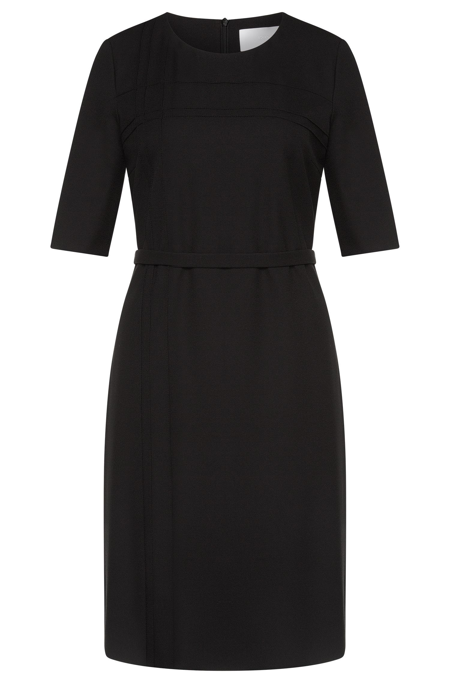 Fitted dress with belt and decorative stitching: 'Hymea'