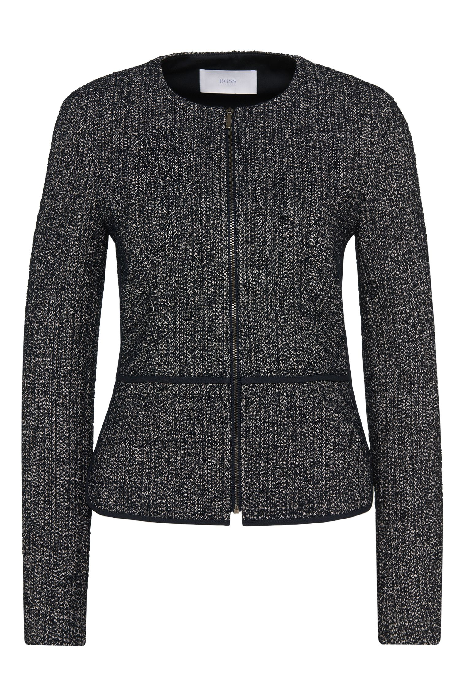 Blazer in a fabric blend with contrasting piping and inserts: 'Karolea'