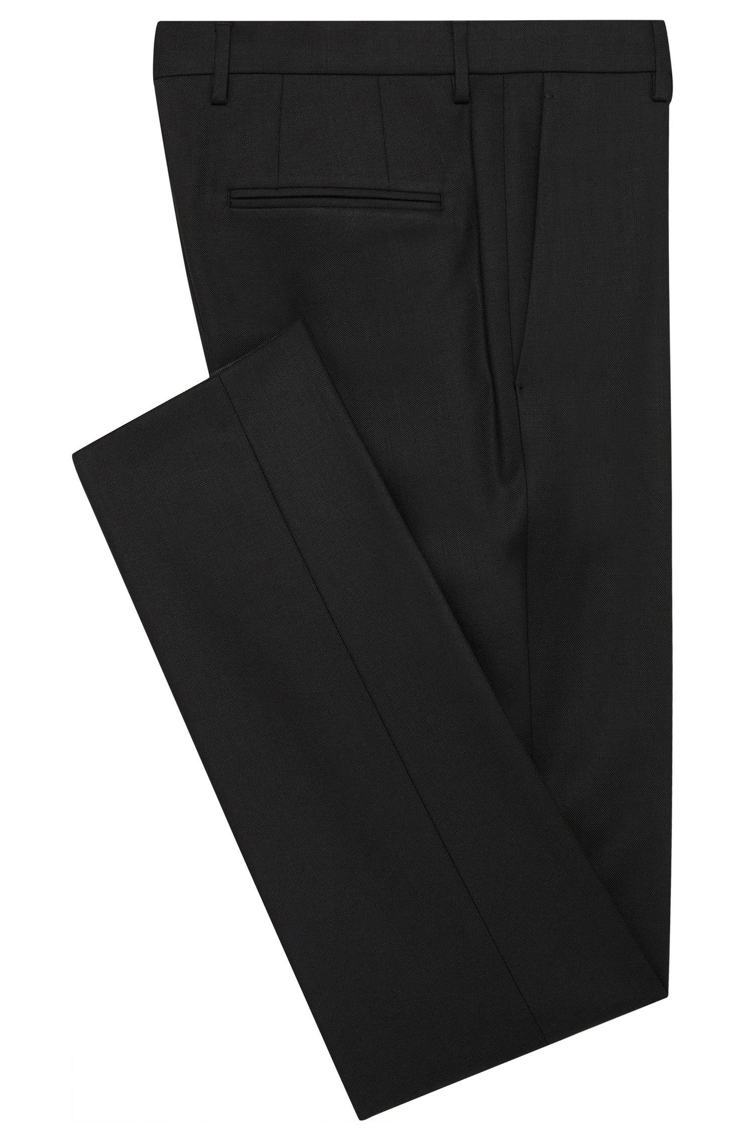 Slim-fit broek van een elastische scheerwolmix: 'Bricks'