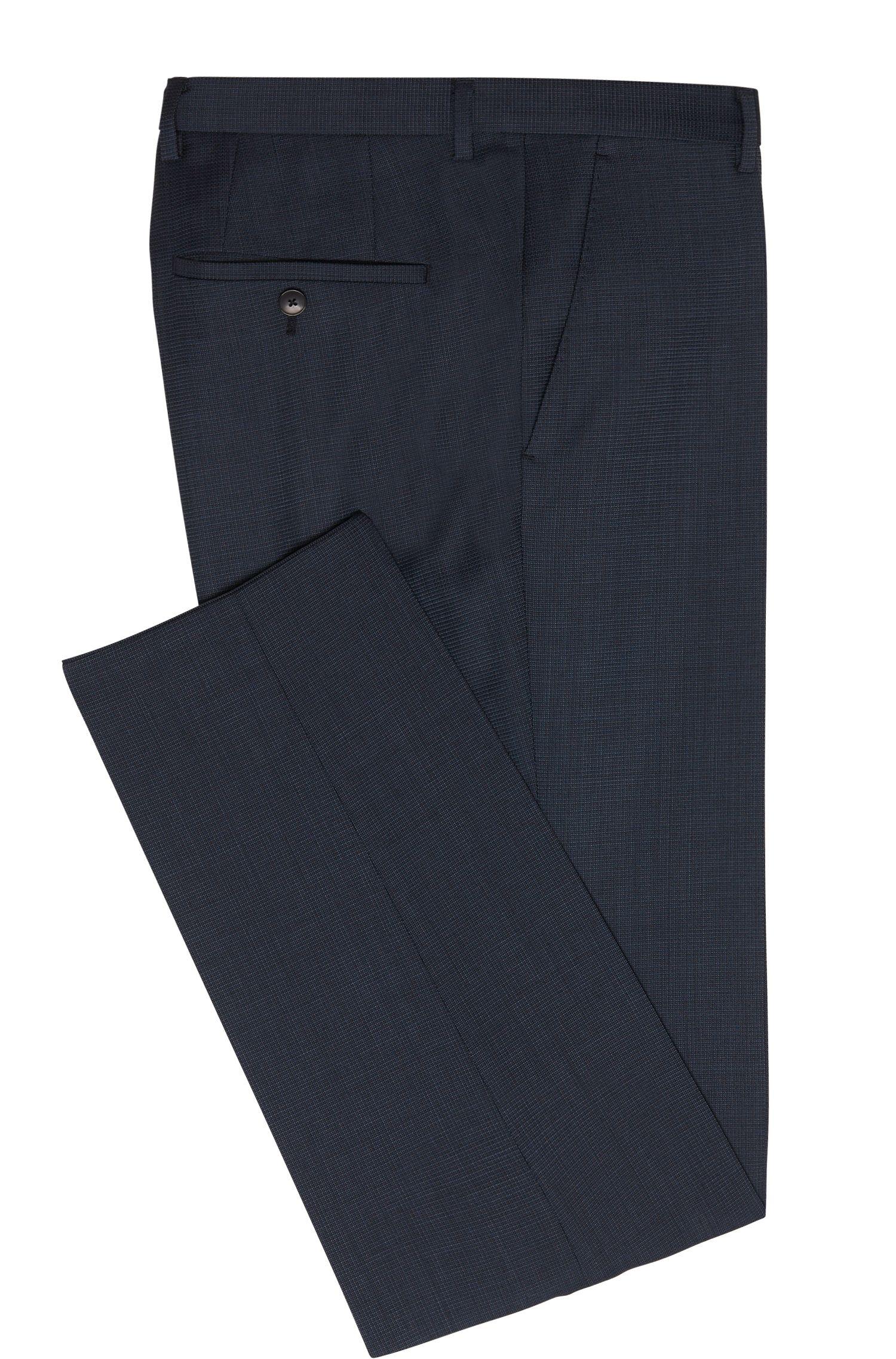 Regular-Fit Hose aus Schurwolle mit feinem Karo-Muster: 'Leenon'