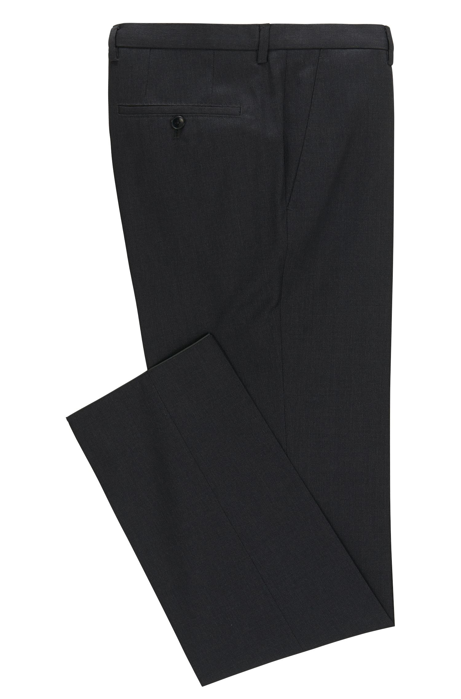 Pantalon Regular Fit uni en laine vierge : « Lenon_cyl »