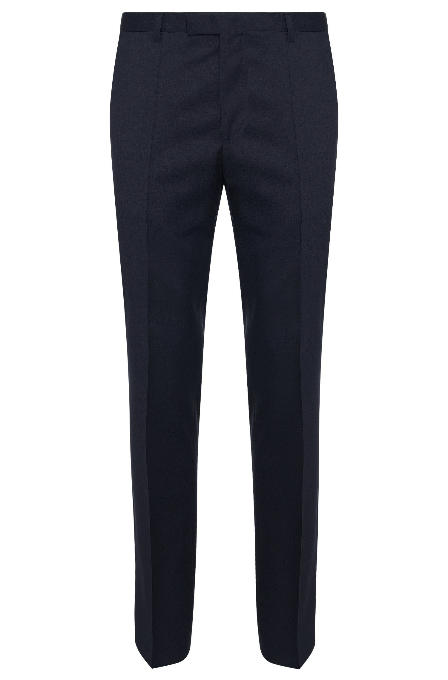 Plain-coloured regular-fit trousers in new wool: 'Lenon_cyl'