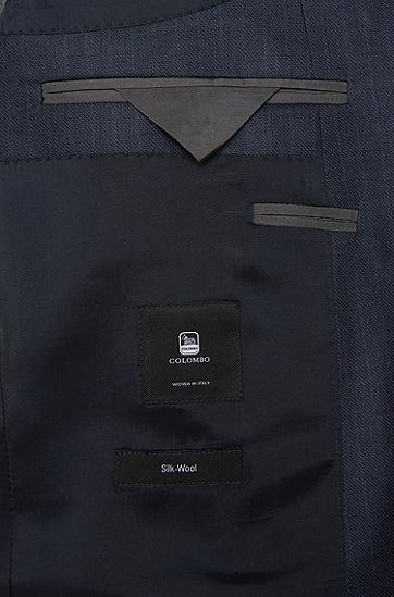 Slim-Fit Anzug aus Schurwoll-Mix mit Seide: 'Huge4/Genius3', Dunkelblau