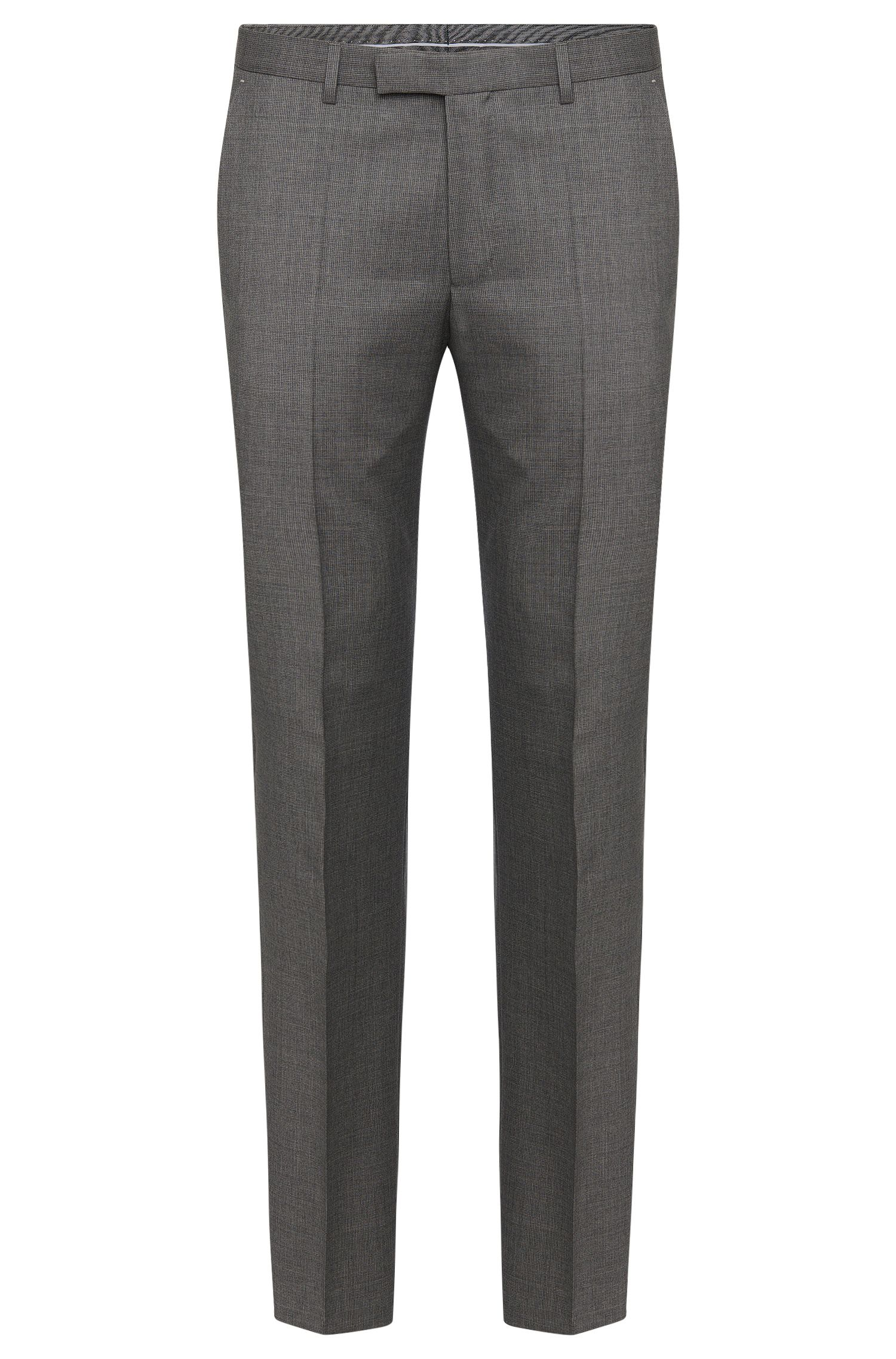Finely patterned regular-fit trousers in pure new wool: 'Leenon'