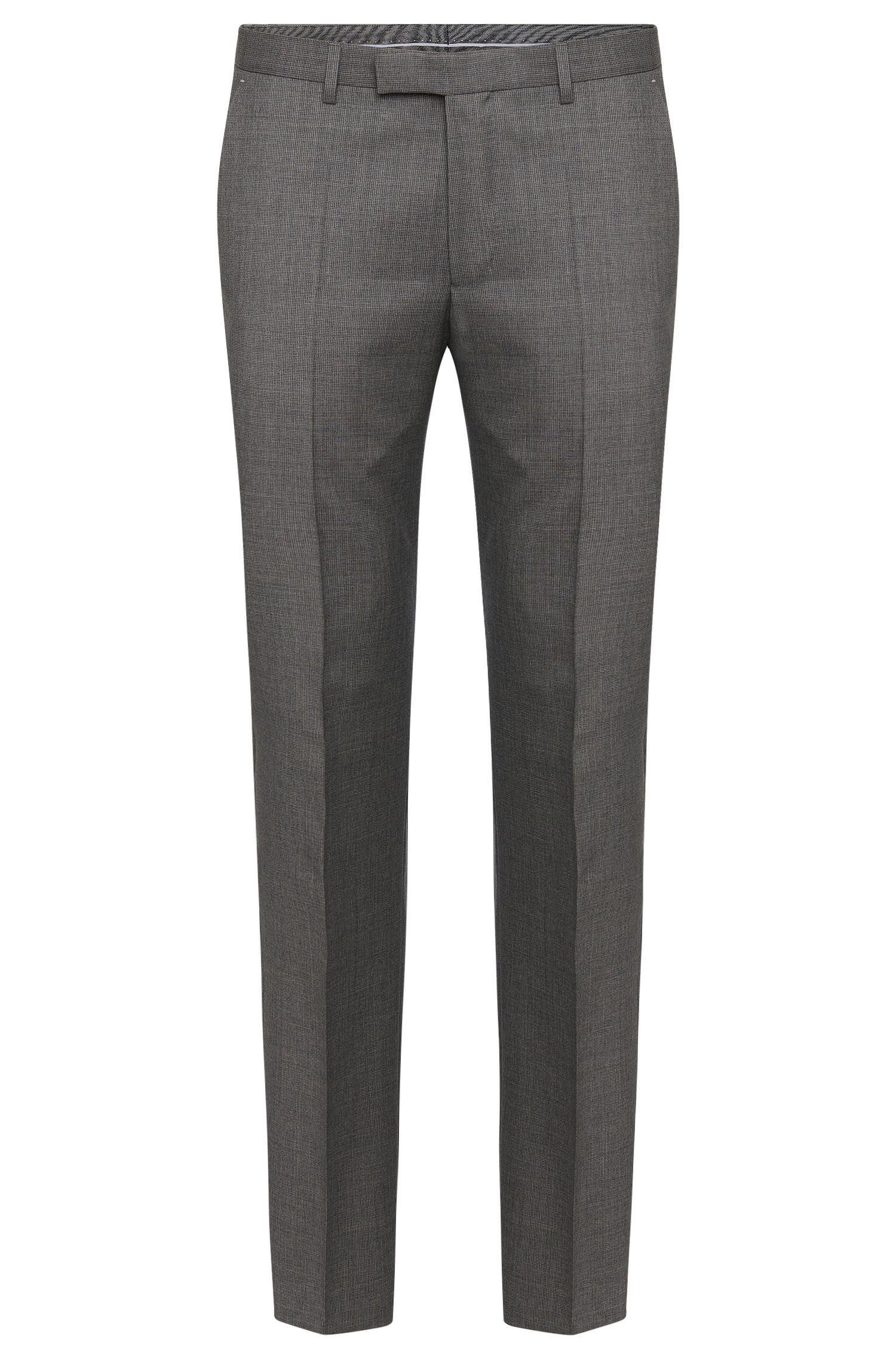 Pantalon Regular Fit à motif raffiné en pure laine vierge: «Leenon»