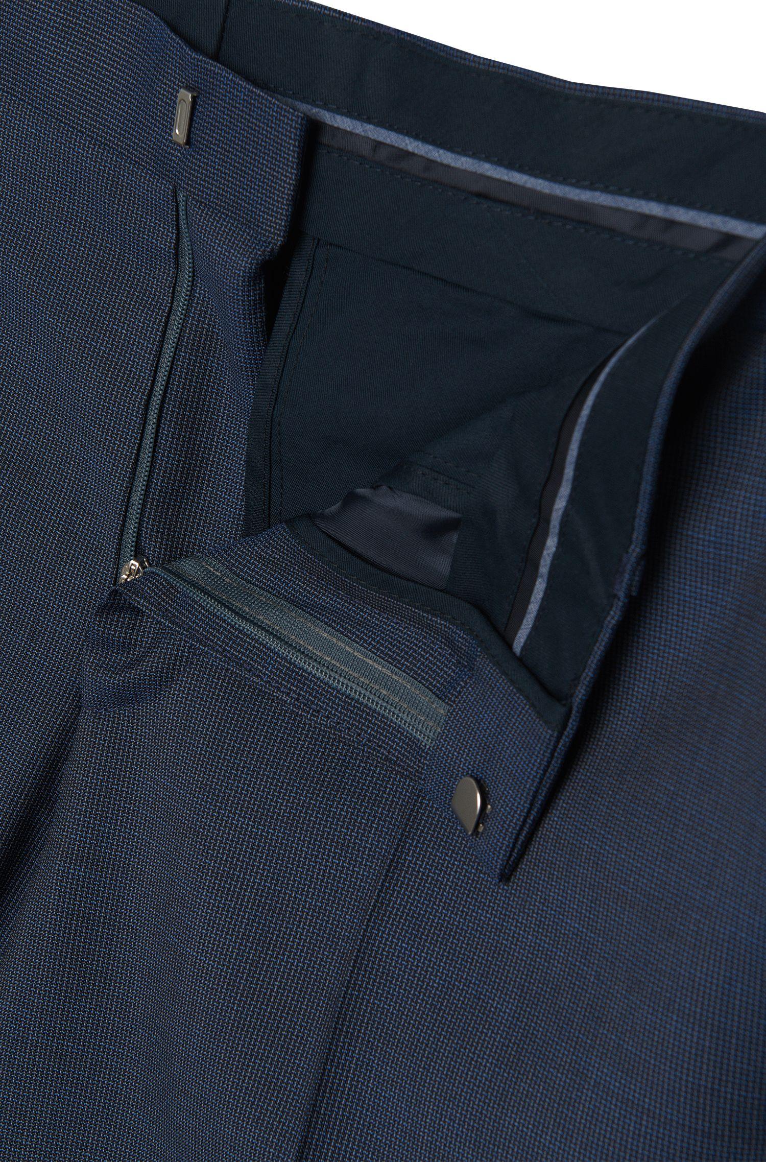 Slim-fit broek van scheerwol in een fijn dessin: 'Genesis2'