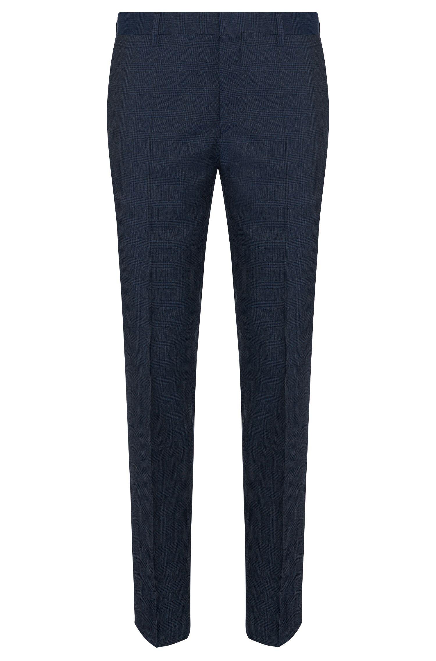 Slim-fit broek van scheerwol met tartandessin: 'Genesis2'