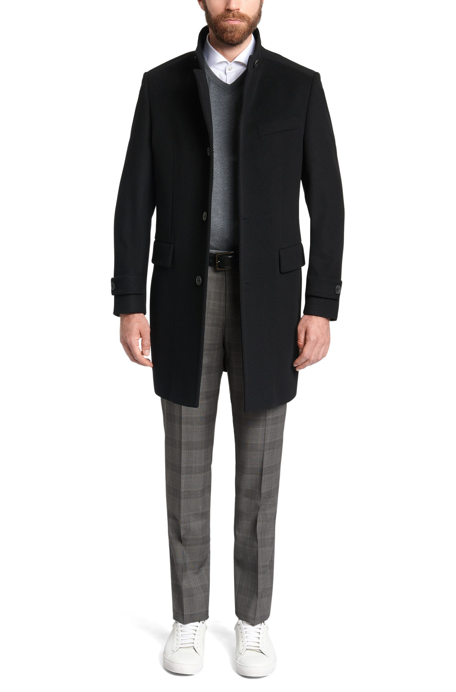 Pantalon Regular Fit en laine vierge à motif prince-de-galles: «Leenon»