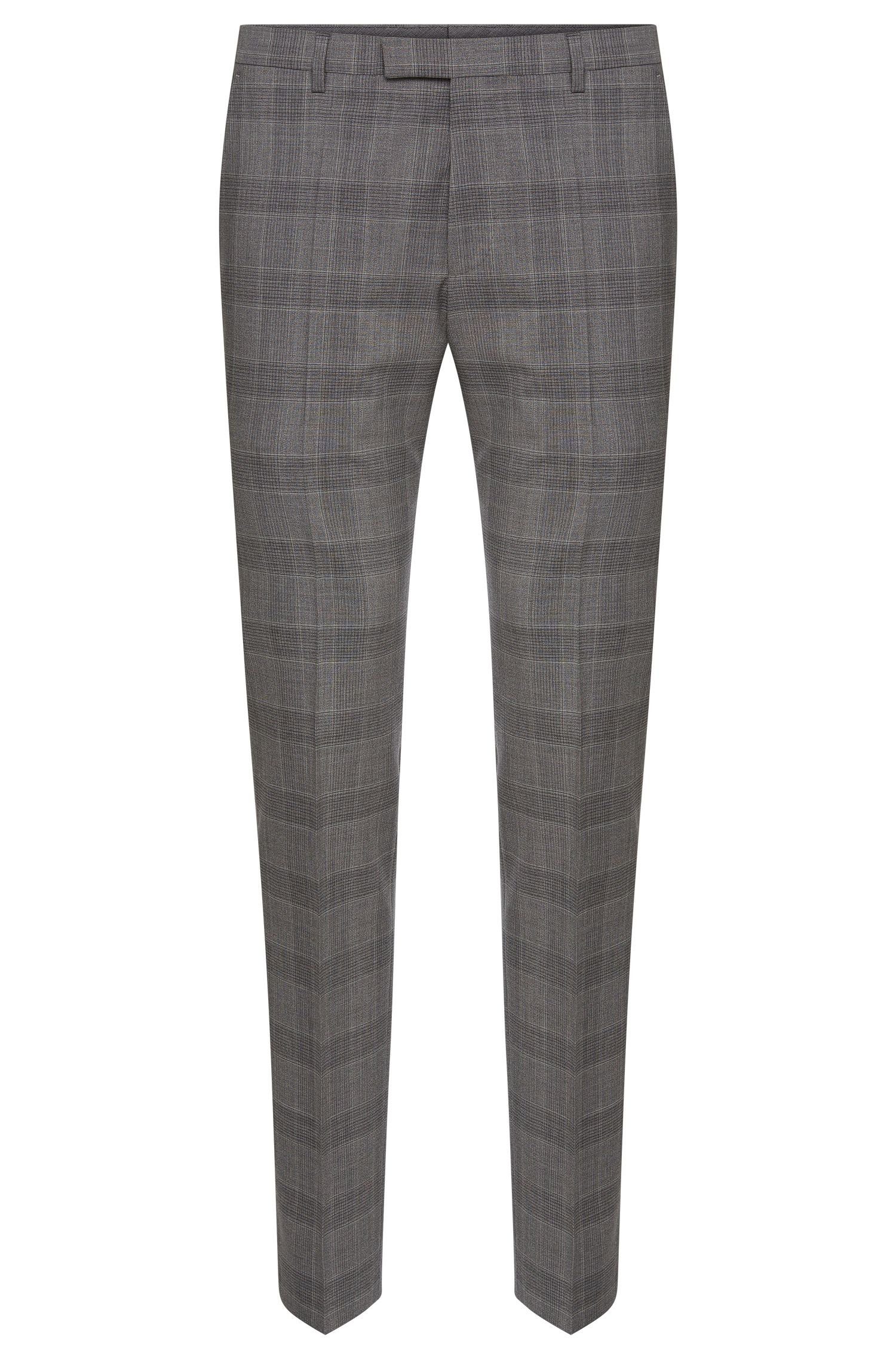Regular-fit trousers in new wool with a Glencheck pattern: 'Leenon'