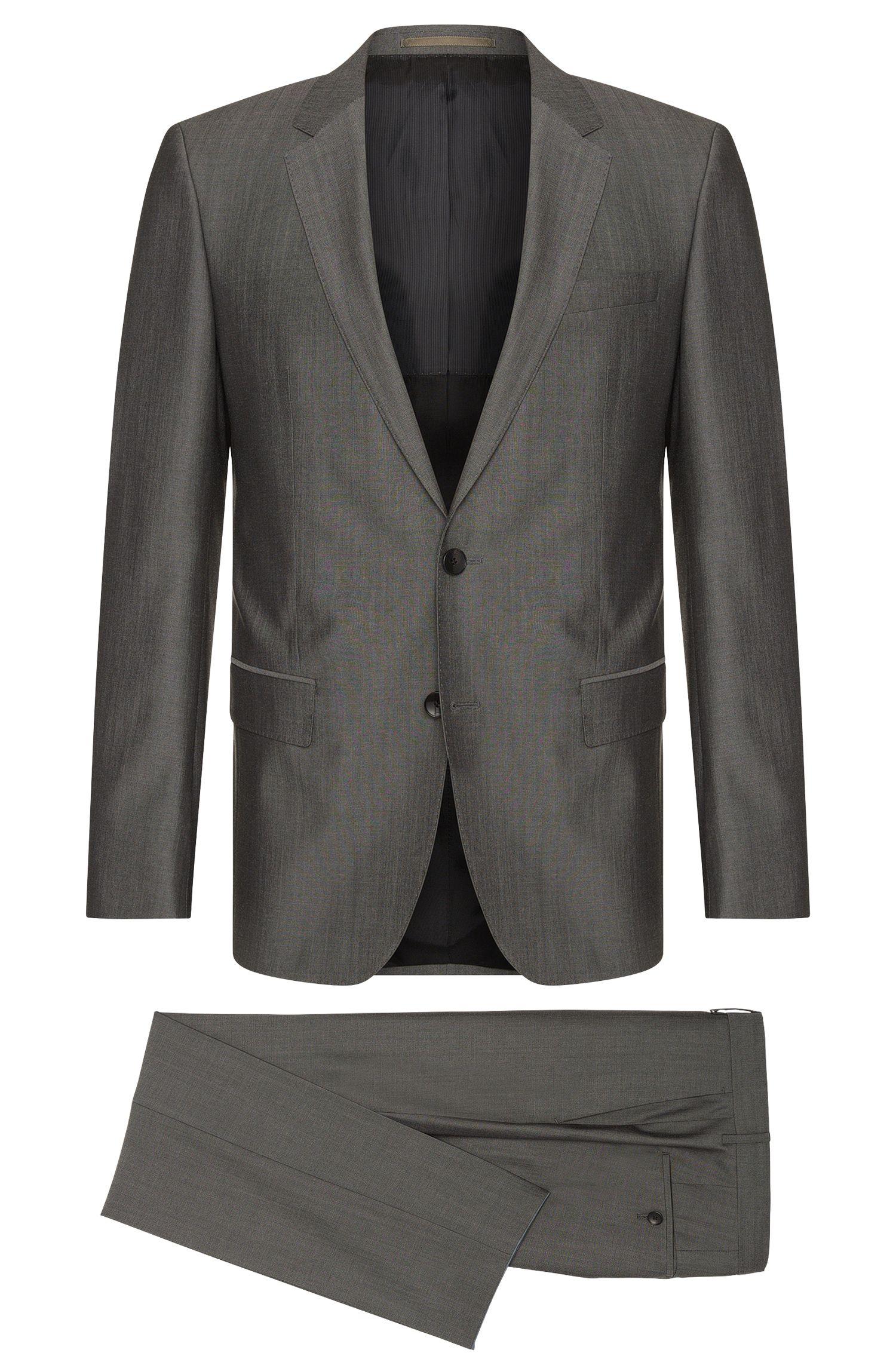 Coarsely mottled slim-fit suit in new wool blend with silk: 'Huge4/Genius3'