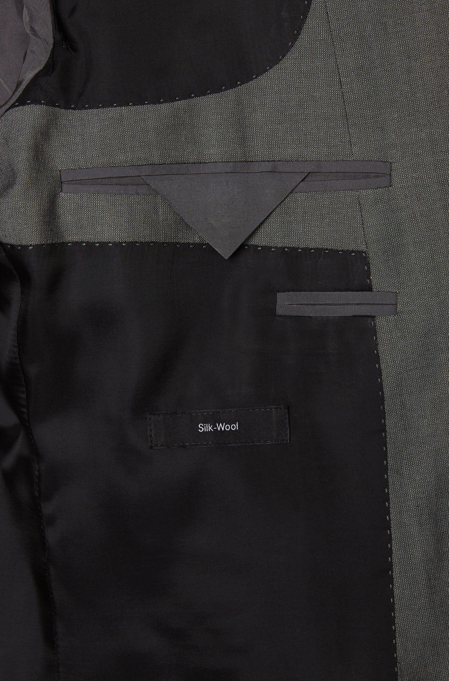 Grob melierter Slim-Fit Anzug aus Schurwoll-Mix mit Seide: 'Huge4/Genius3'