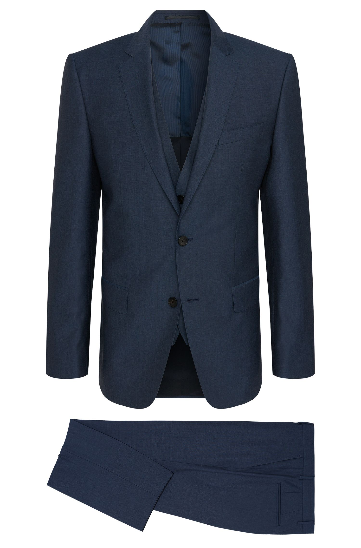 Slim-fit 3-piece suit in new-wool blend with silk: 'Hevans/Gill WE'