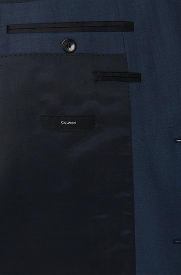 Dreiteiliger Slim-Fit Anzug aus Schurwoll-Mix mit Seide: 'Hevans/Gill WE', Blau