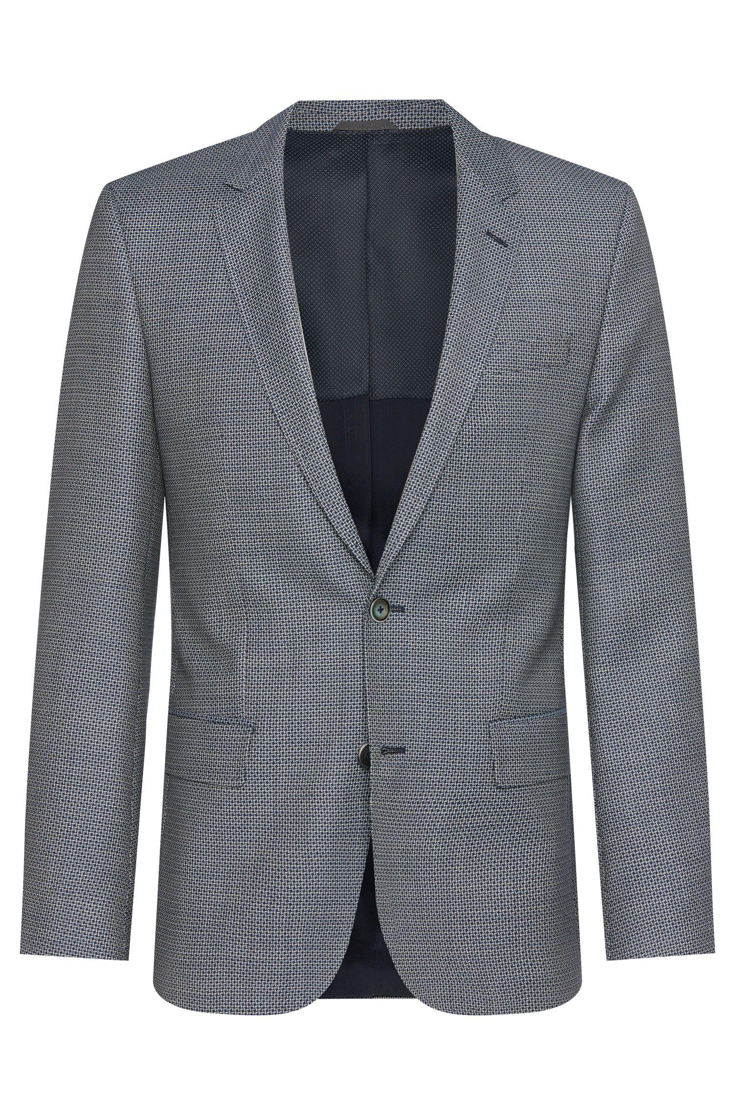 Veste de costume Slim Fit en laine vierge à motif, dotée de boutons en nacre: «Hutsons2»