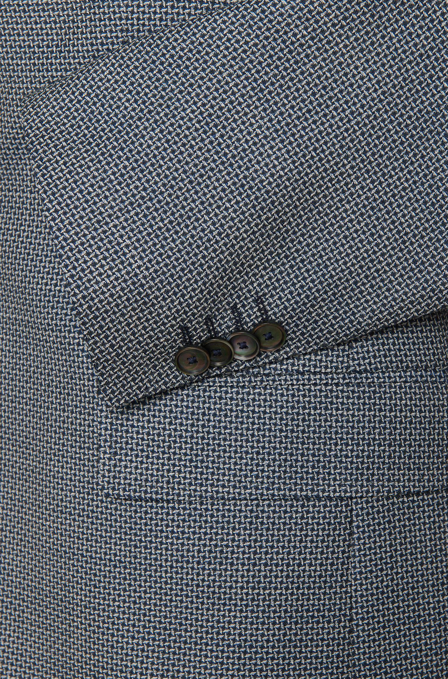 Gemustertes Slim-Fit Sakko aus Schurwolle mit Perlmutt-Knöpfen: 'Hutsons2'