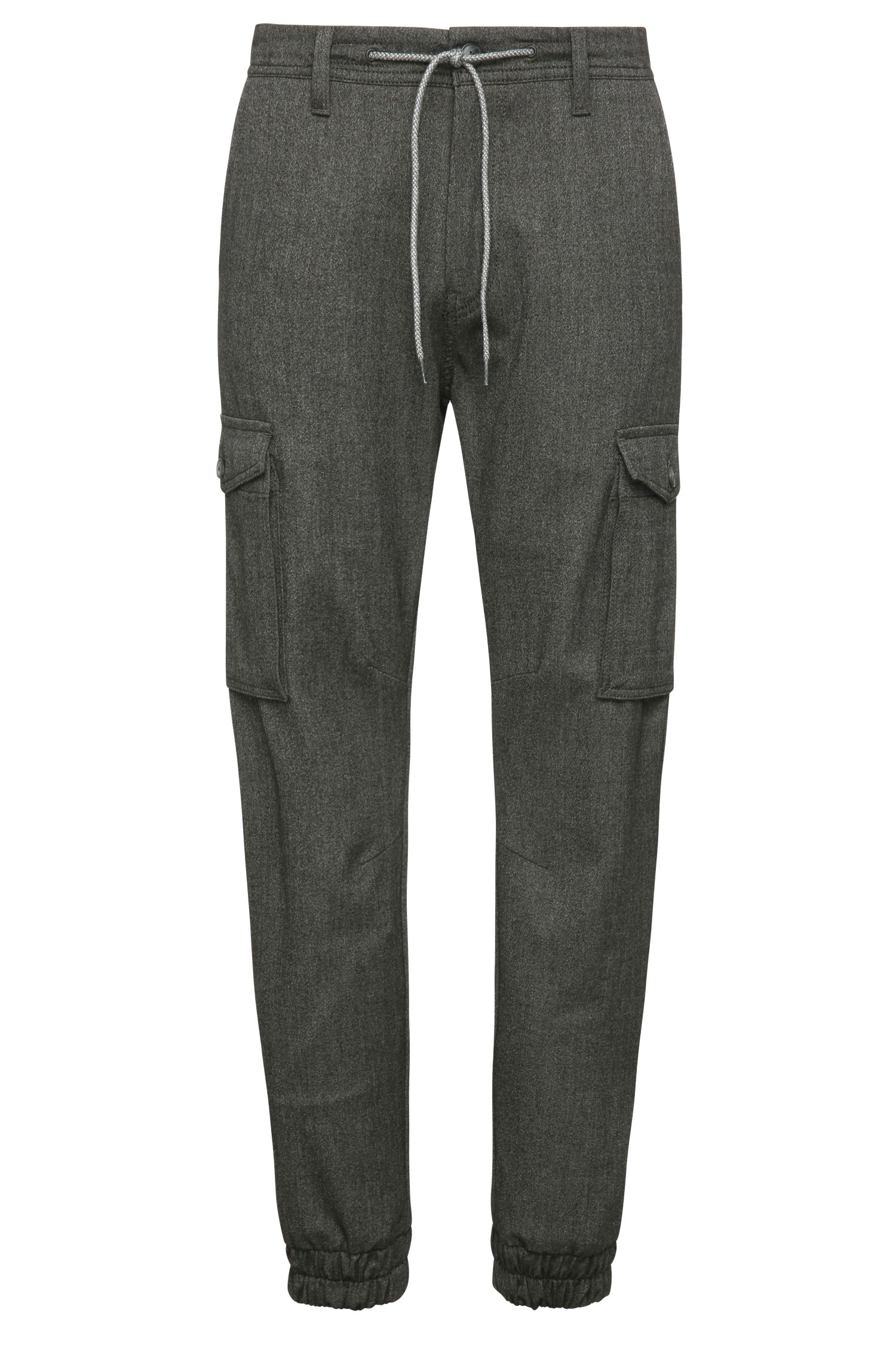 Tapered-fit cargo trousers in stretchy fabric blend with viscose: 'Shay-W'