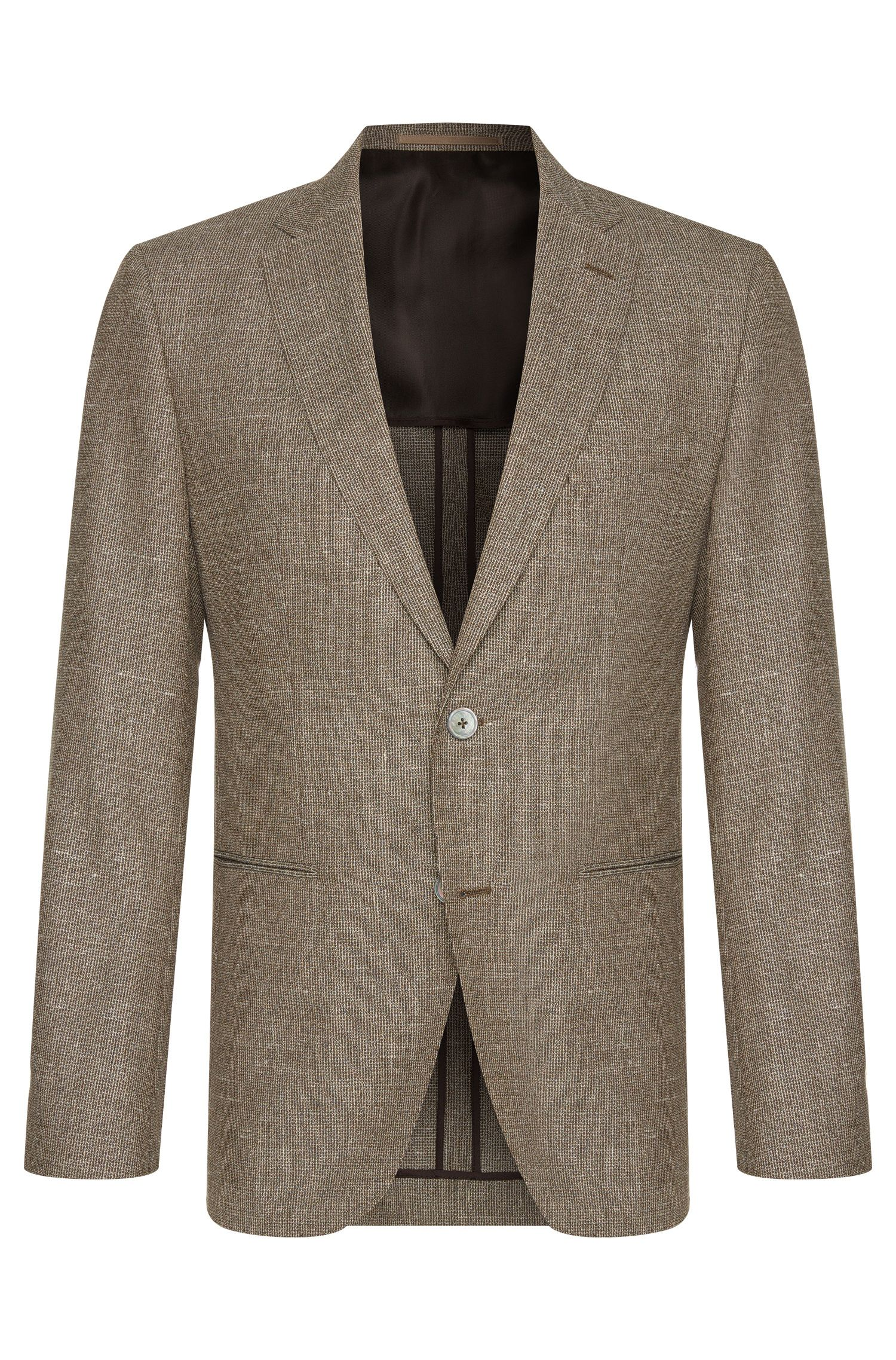 Regular-fit jacket in new wool blend with linen and silk: 'Jorden'