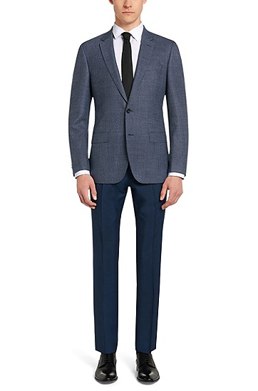 Slim-Fit Tailored Sakko aus Schurwolle mit Seitenschlitzen: 'T-Heel', Blau