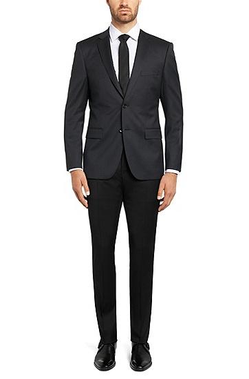Unifarbene Slim-Fit Tailored Hose aus reiner Schurwolle: 'T-Glover1', Schwarz