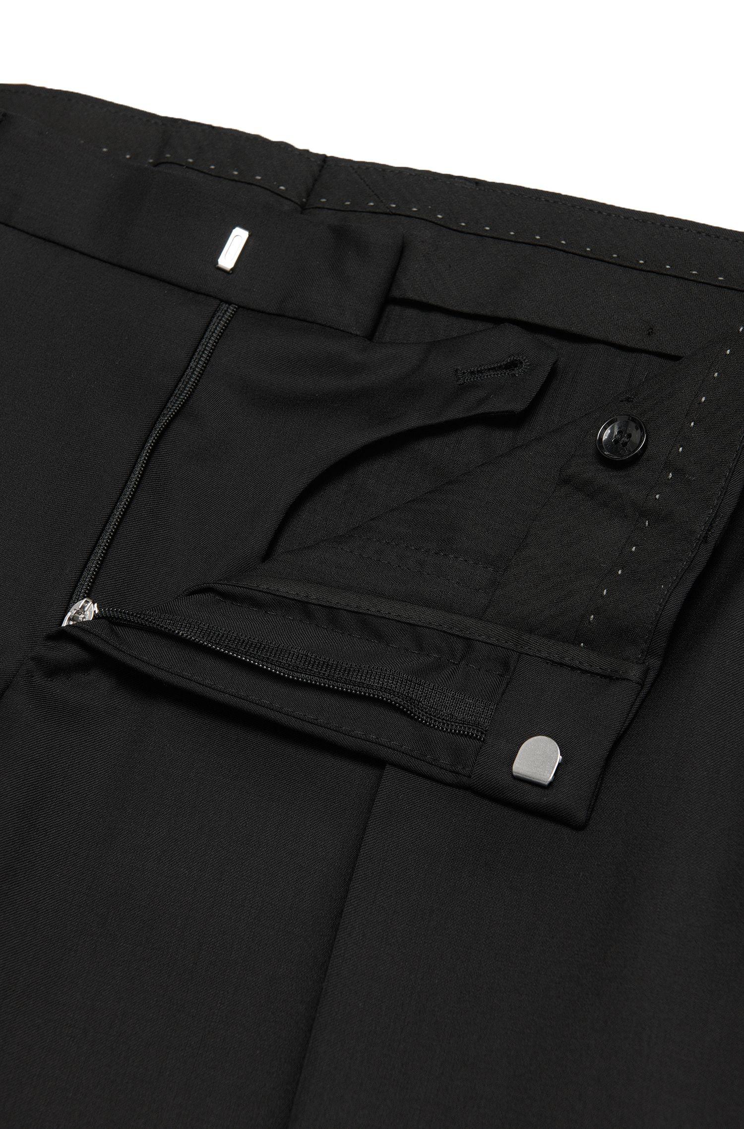 Pantalon Slim Fit Tailored uni en pure laine vierge: «T-Glover1»