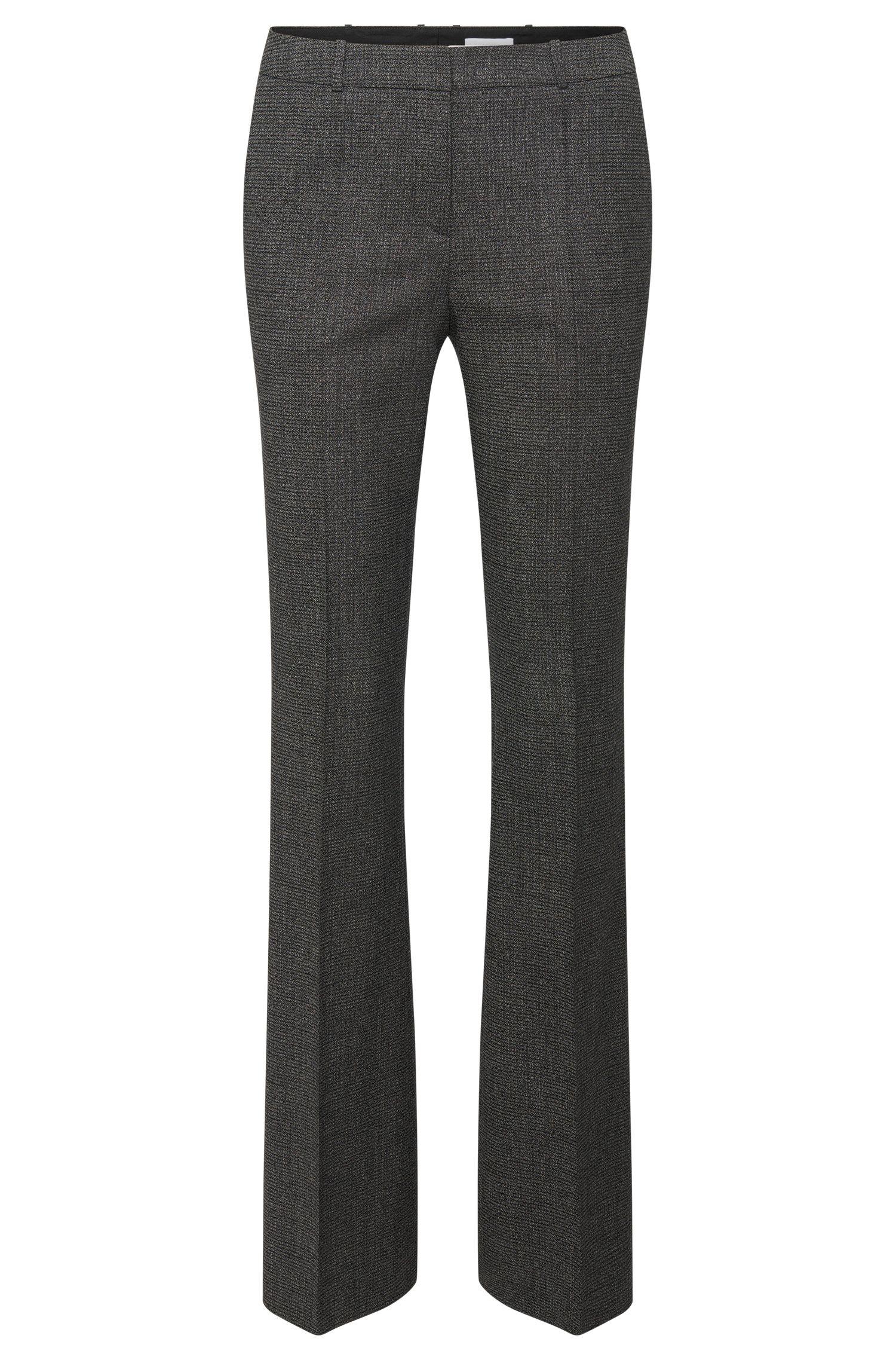 Pantalón regular fit en lana virgen elástica y corte bootcut: 'Tusini1'