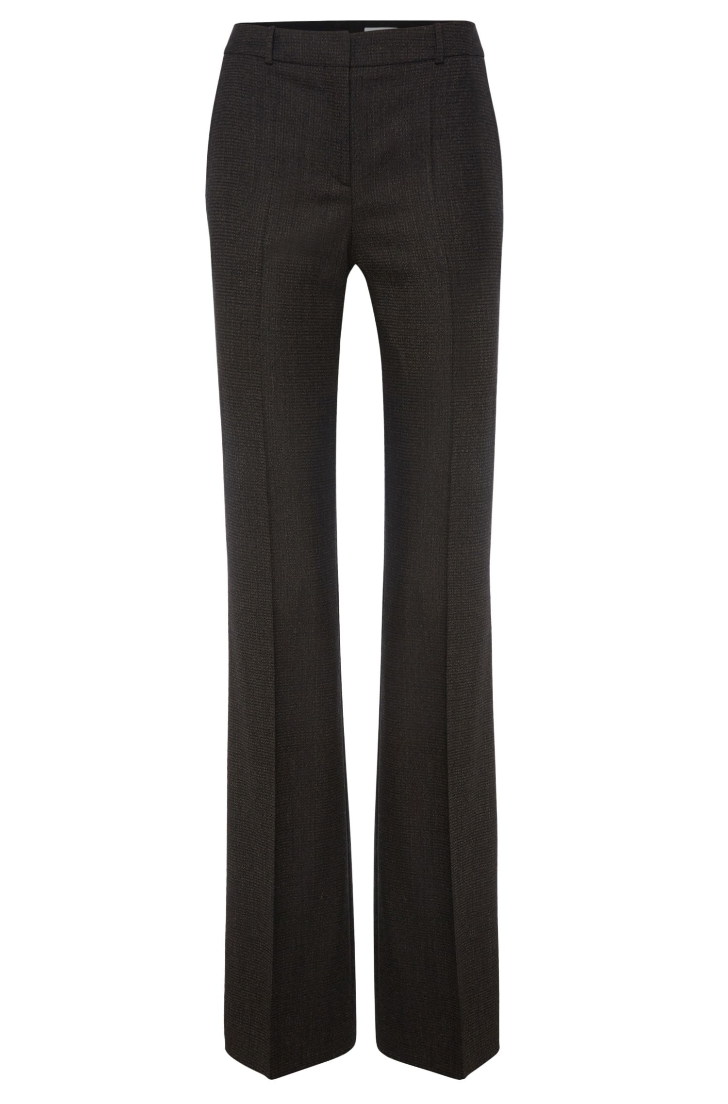 Pantalon Regular Fit en laine vierge extensible, de coupe bootcut : « Tusini1 »