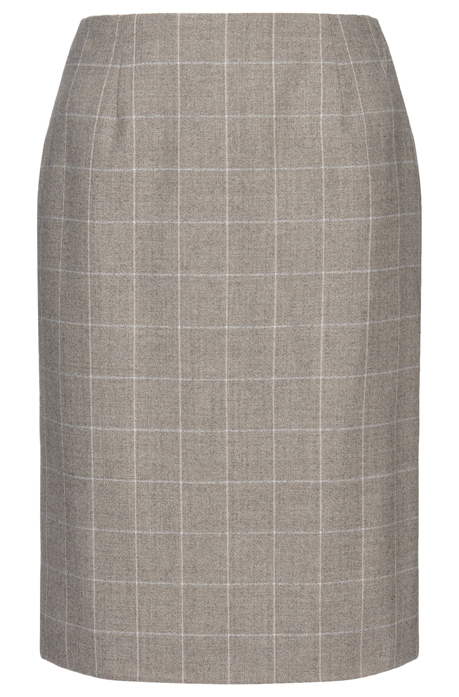 Geruite rok van scheerwol met stretch: 'Vileana'