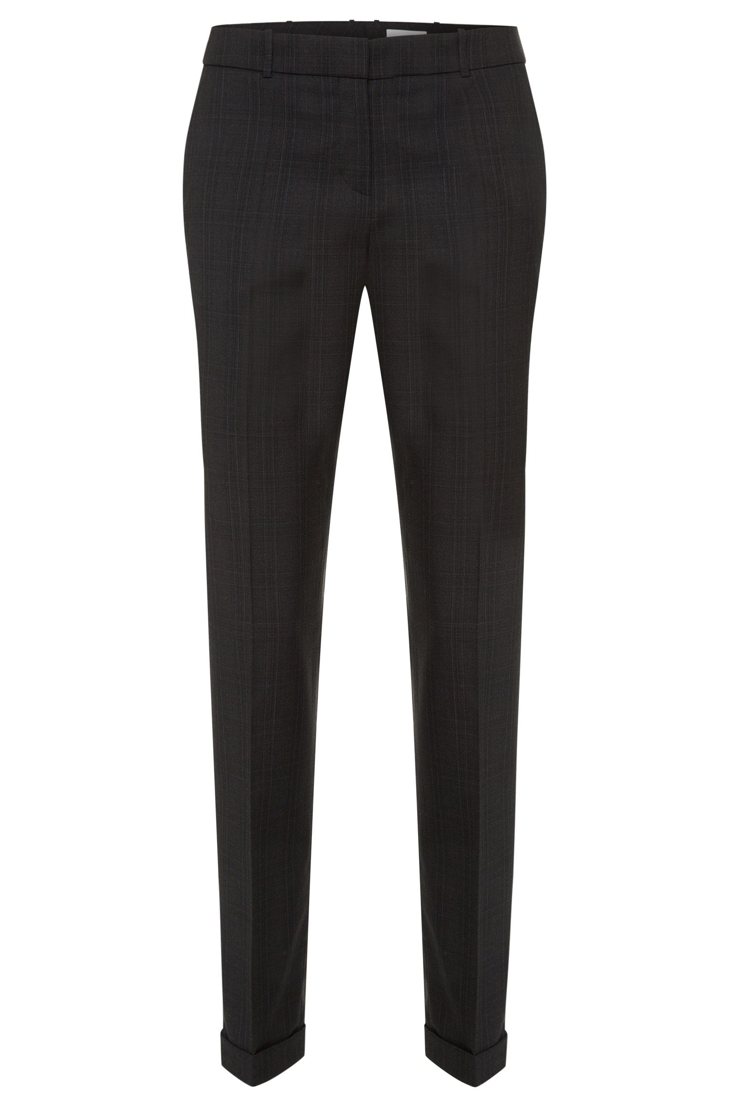 Slim-fit trousers in new-wool blend with check pattern: 'Tiluna8'